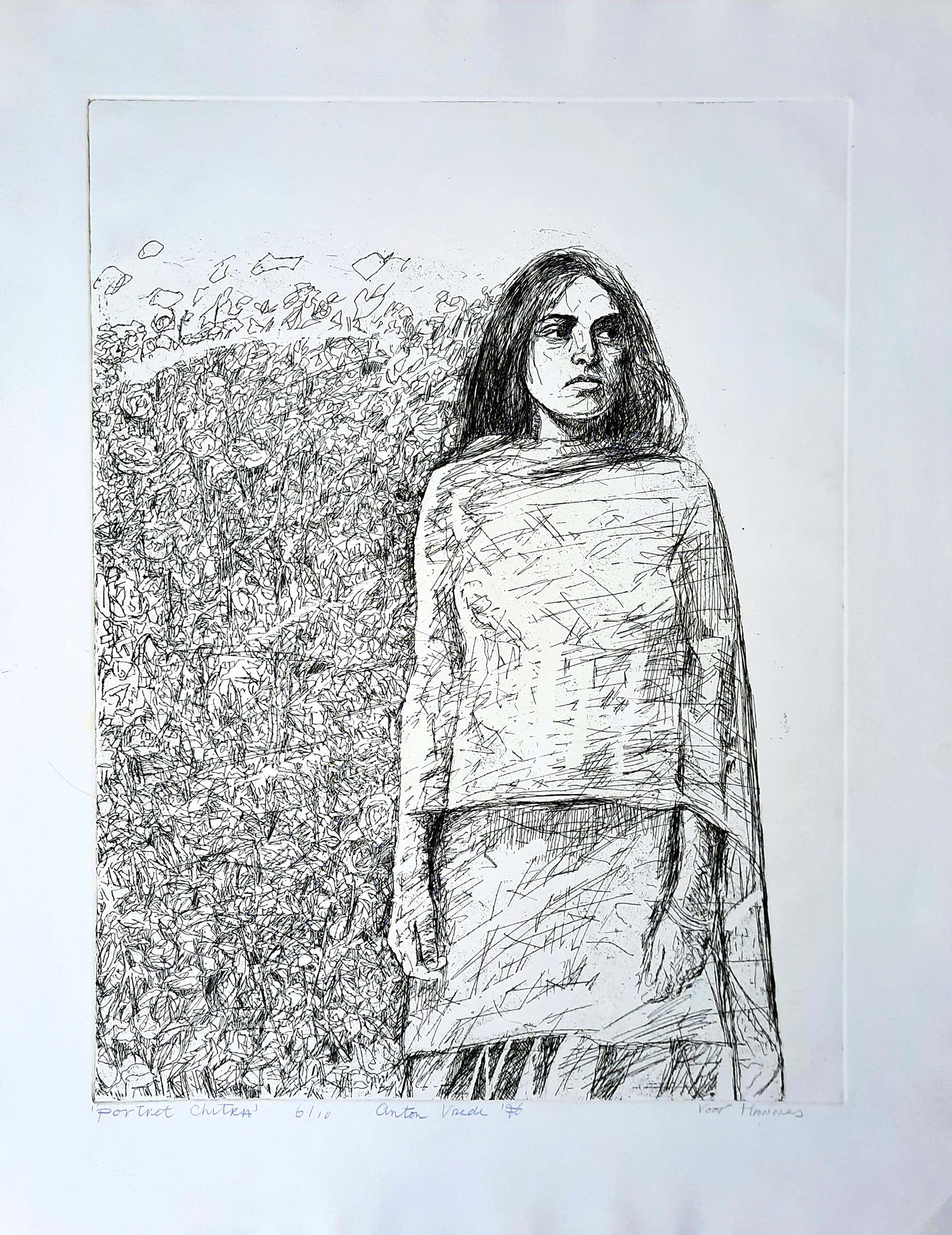Anton Vrede - drogenaald ETS - Portret Chitra 6/10 - vroeg werk 1976 kopen? Bied vanaf 65!