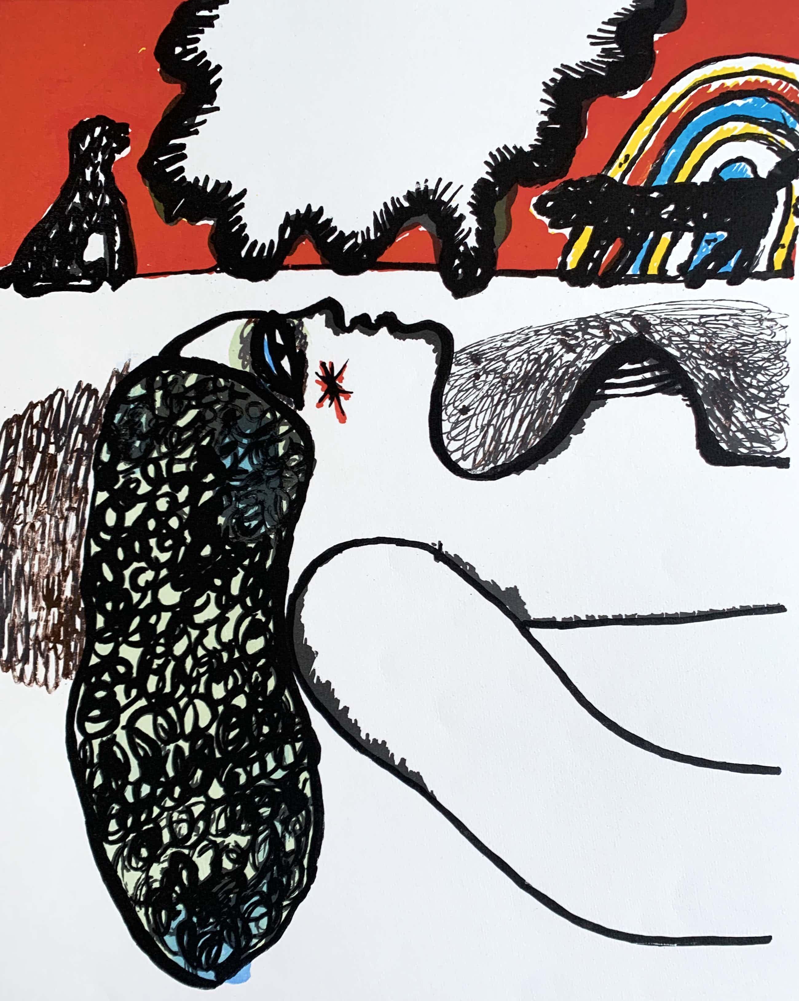 Corneille - kleurenzeefdruk - 'Deux fois un chien' - 1975 kopen? Bied vanaf 250!