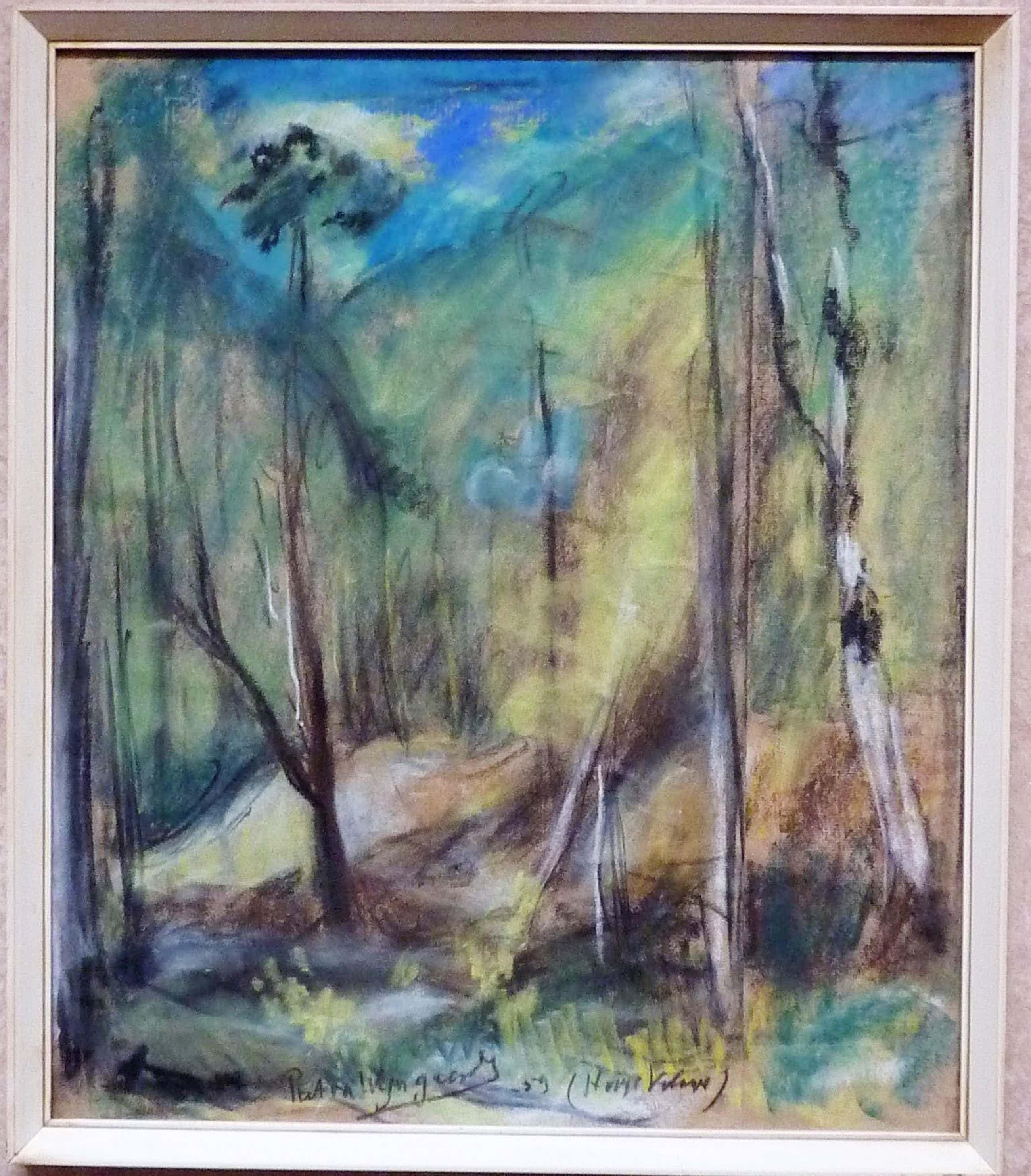 """Piet van Wijngaerdt - Pastel tekening """"Hooge Veluwe"""" 1959 kopen? Bied vanaf 160!"""