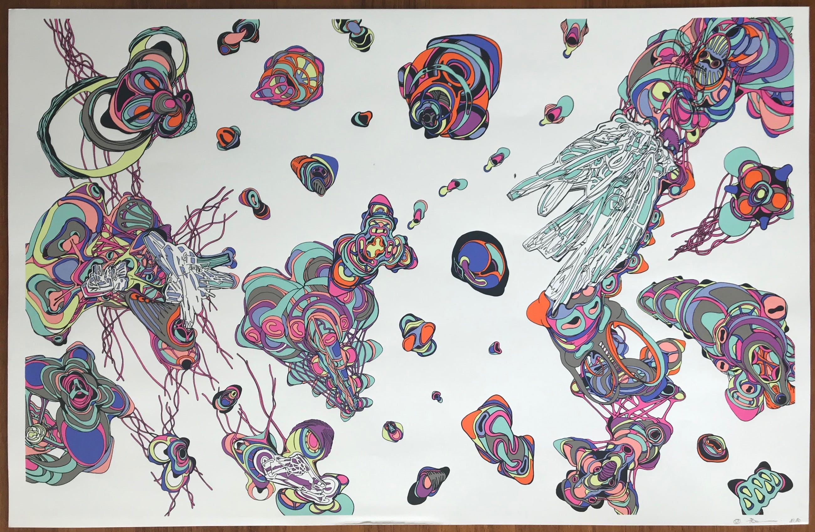 Jean-Luc Moerman - Zeefdruk - Gesigneerd - 'Nanohybride' - 86/150 - 2002 kopen? Bied vanaf 85!