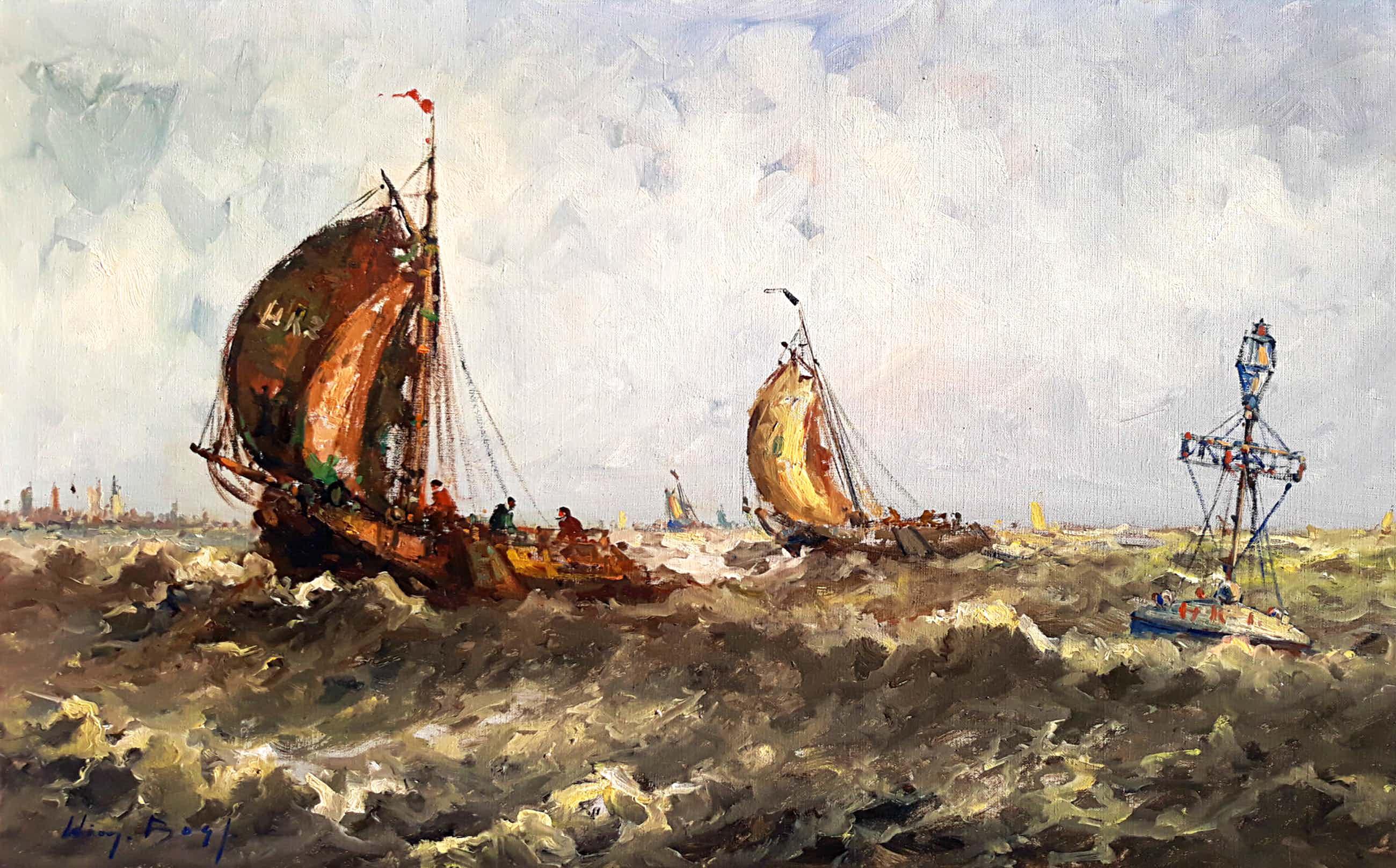Willem Bos - Boten bij boei op woelige zee, olieverf op doek (mooi ingelijst, groot) kopen? Bied vanaf 125!
