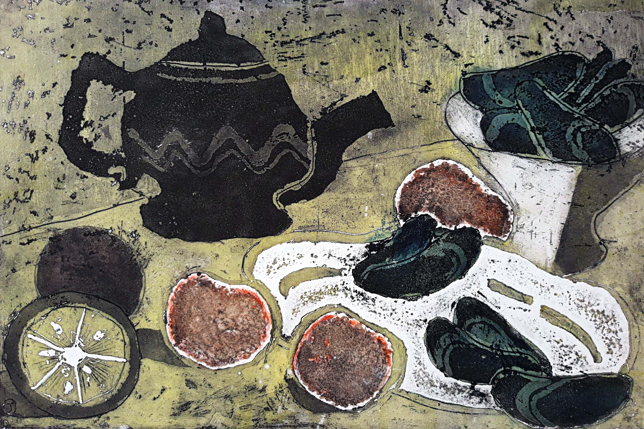 Jeanne Bieruma Oosting - Mossels en mandarijnen, reliëfets met aquatint kopen? Bied vanaf 175!
