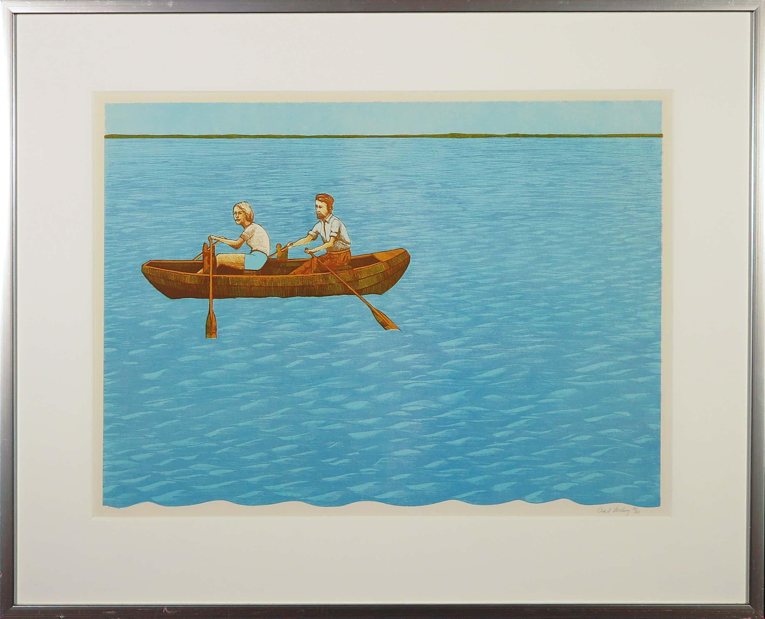 Aat Verhoog - Litho, Man en vrouw in een bootje - Ingelijst kopen? Bied vanaf 40!