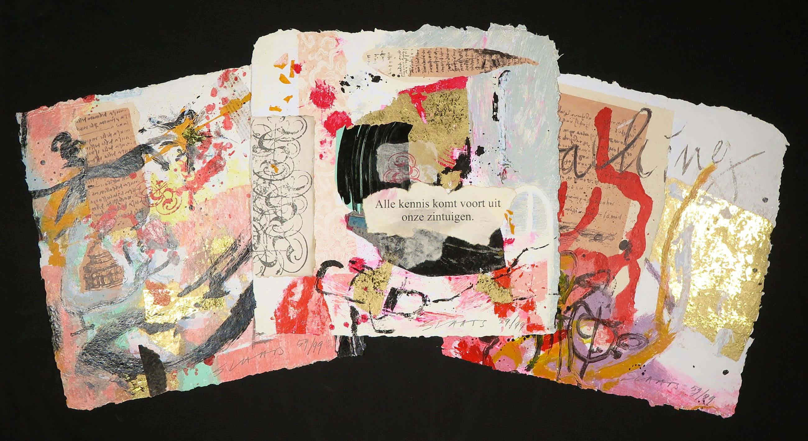 Miriam Slaats - Map met drie zeefdrukken, Alle kennis komt voort uit onze zintuigen kopen? Bied vanaf 35!