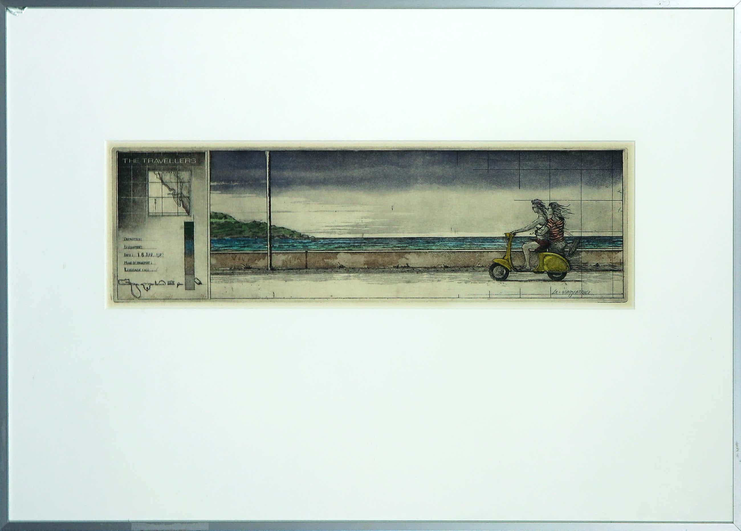 Rolf Weijburg - Kleurenets en aquatint, The Travellers (Le viaggiatrigi) - Ingelijst kopen? Bied vanaf 35!