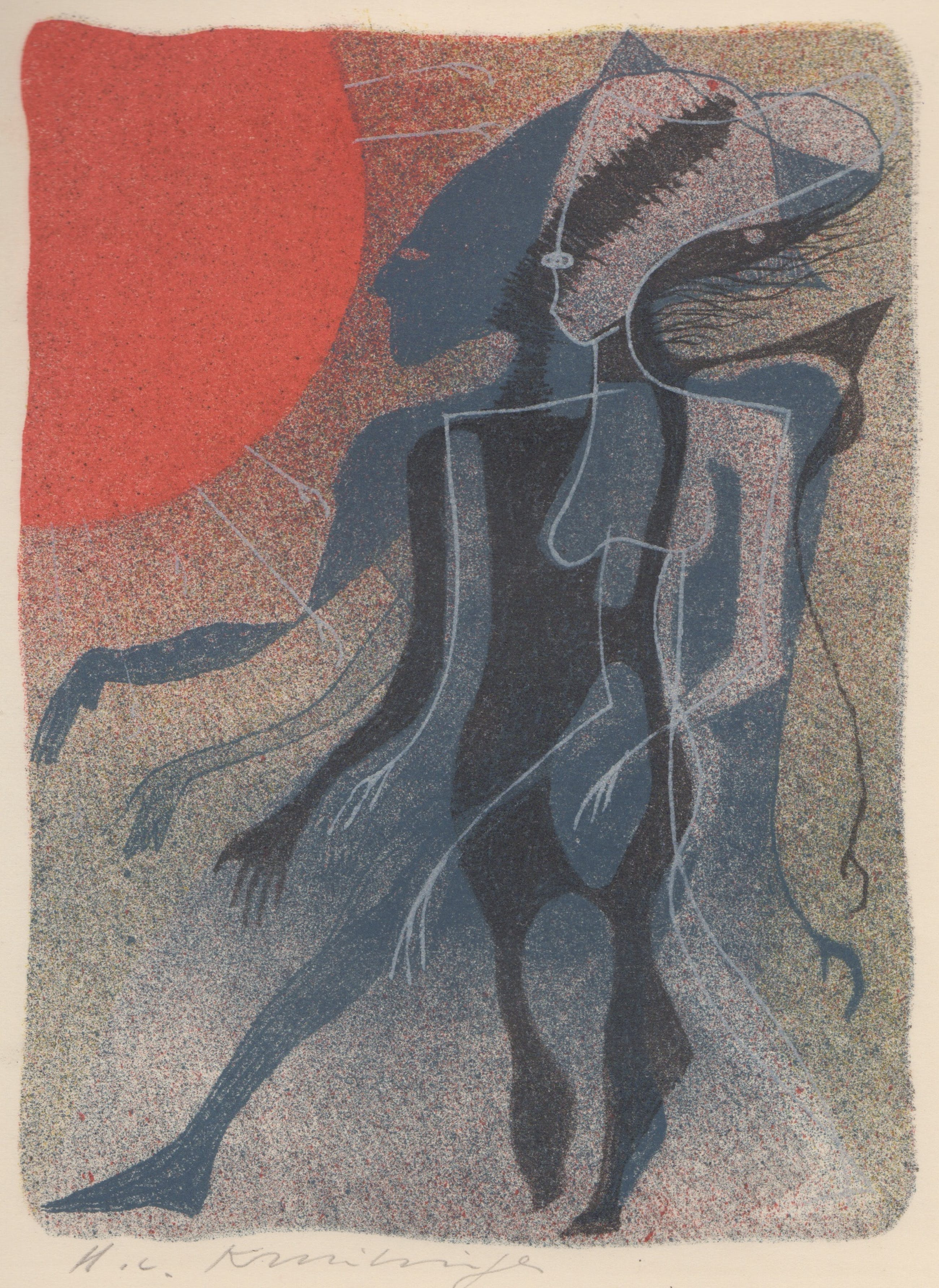 Harry van Kruiningen - kleurenlitho - 'Achnaton' - 1953 kopen? Bied vanaf 49!