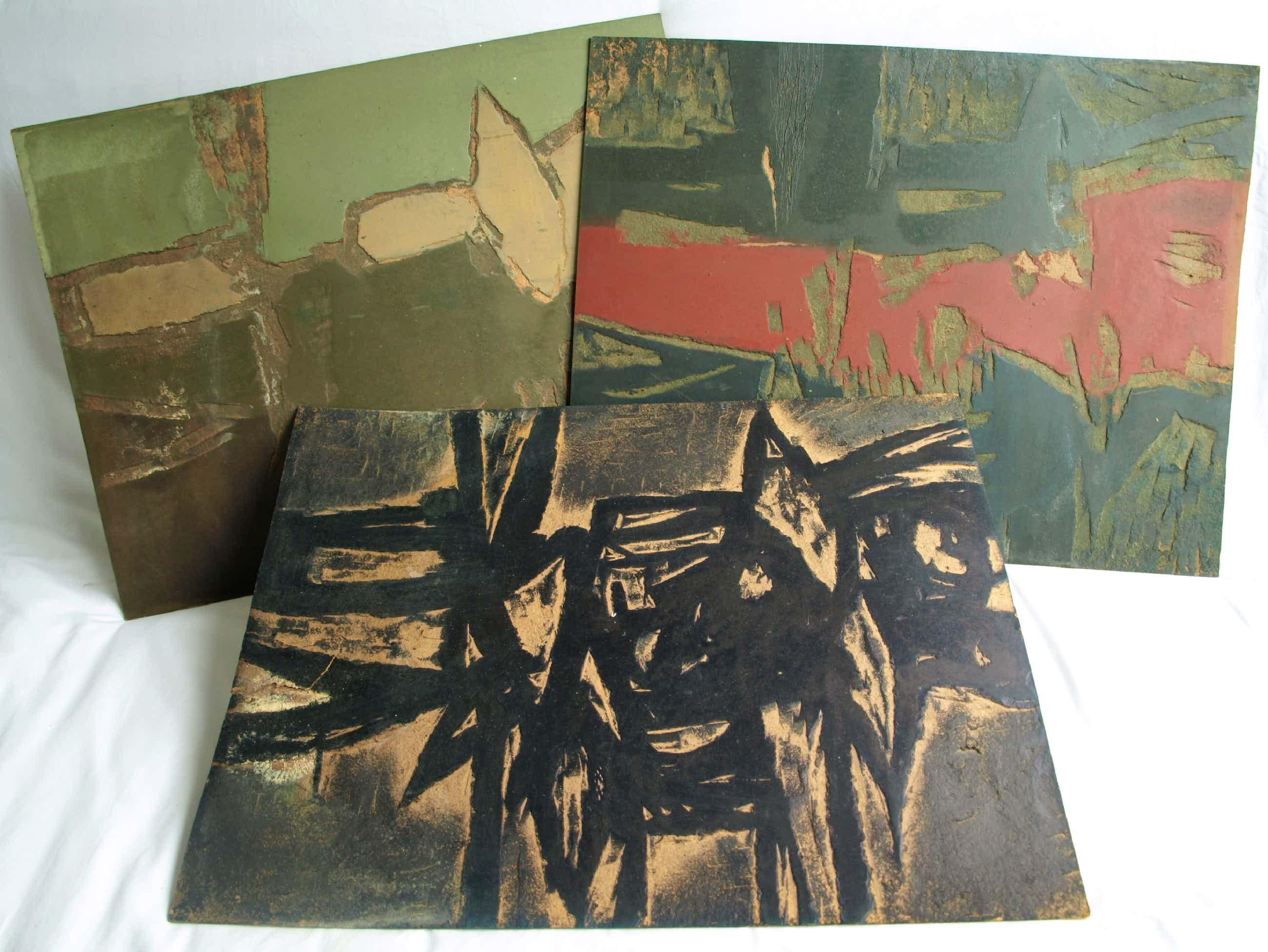 Fon Klement - De 3 hardboard 'BLOKKEN' van de boardsnede 'Invariable' - 1966 kopen? Bied vanaf 400!