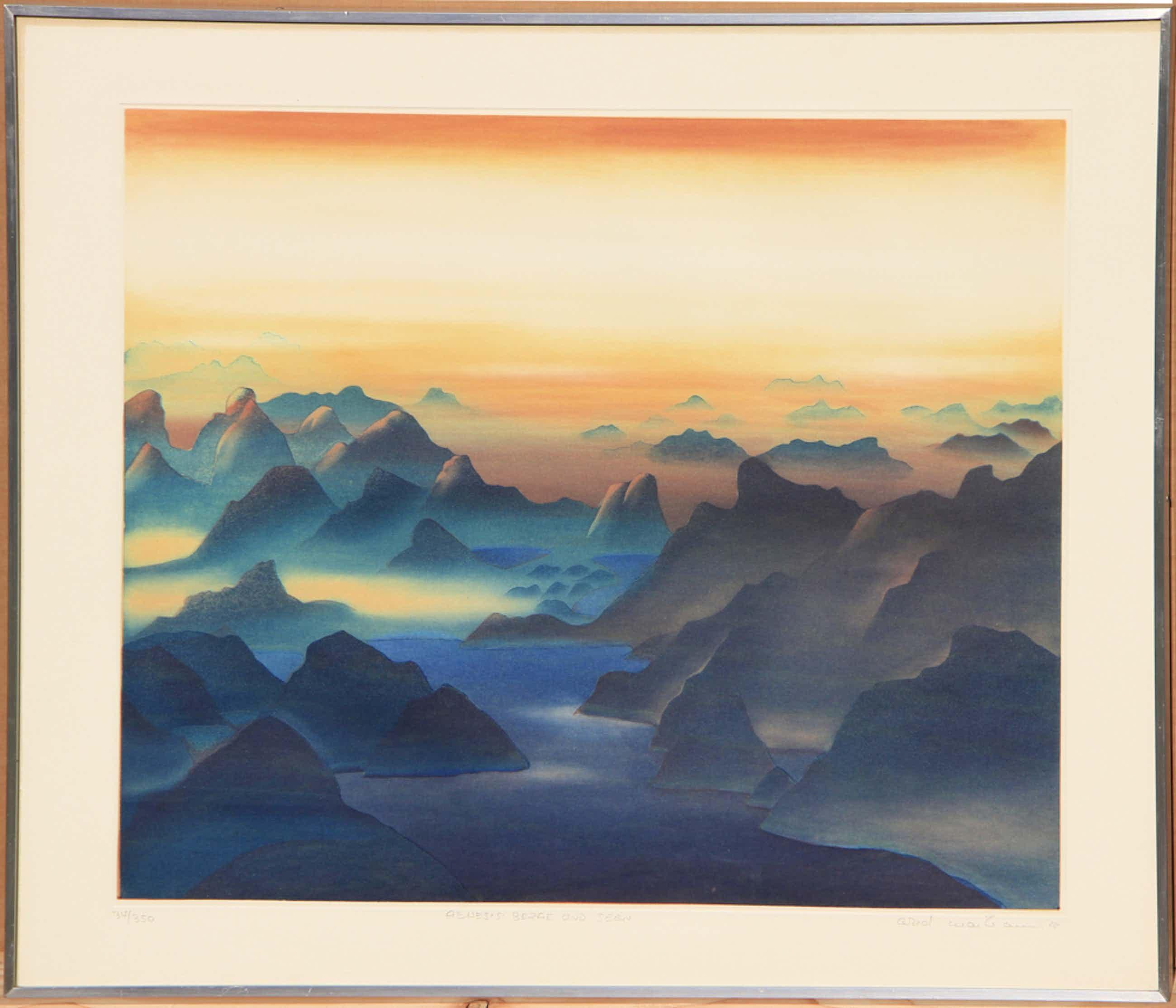Arnd Maibaum - Genesis Berge und Seen - Orignal-Farbradierung limitiert 34/350 kopen? Bied vanaf 100!