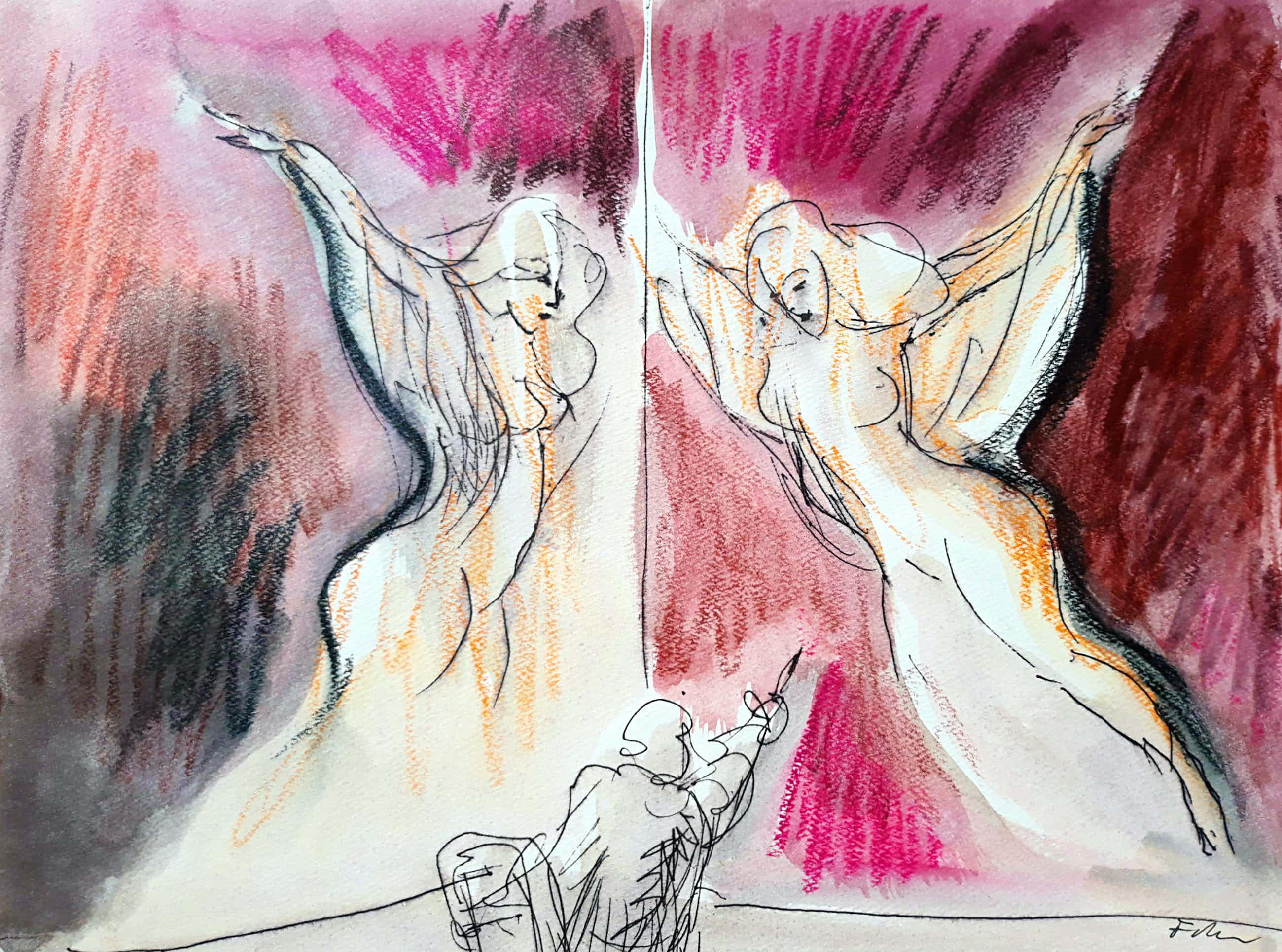 Luis Filcer - Kunstenaar en spiegel, gemengde techniek op papier kopen? Bied vanaf 195!