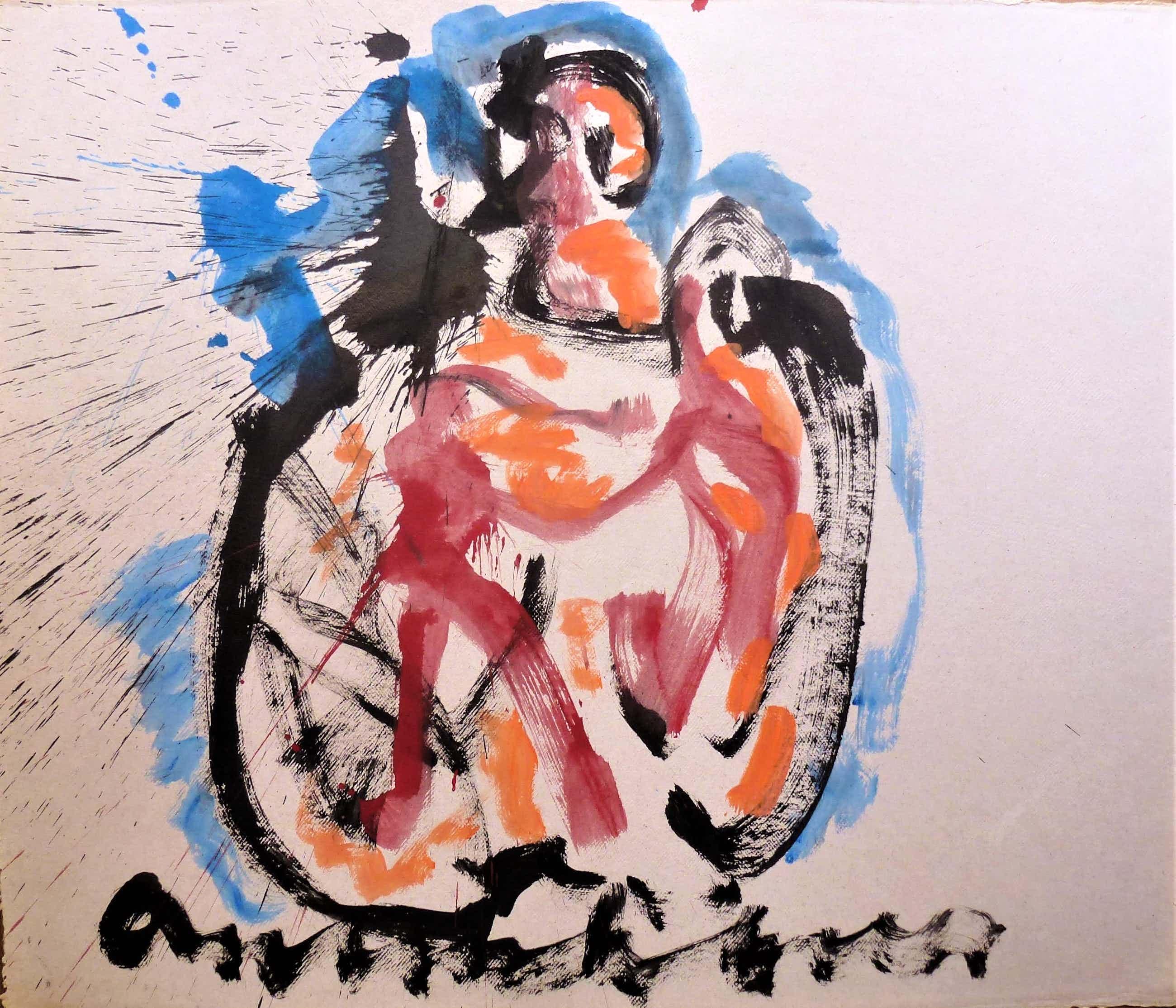 Anton Heyboer - Moeder en kind De oermoeder Kleurrijke krachtige schildering . kopen? Bied vanaf 250!