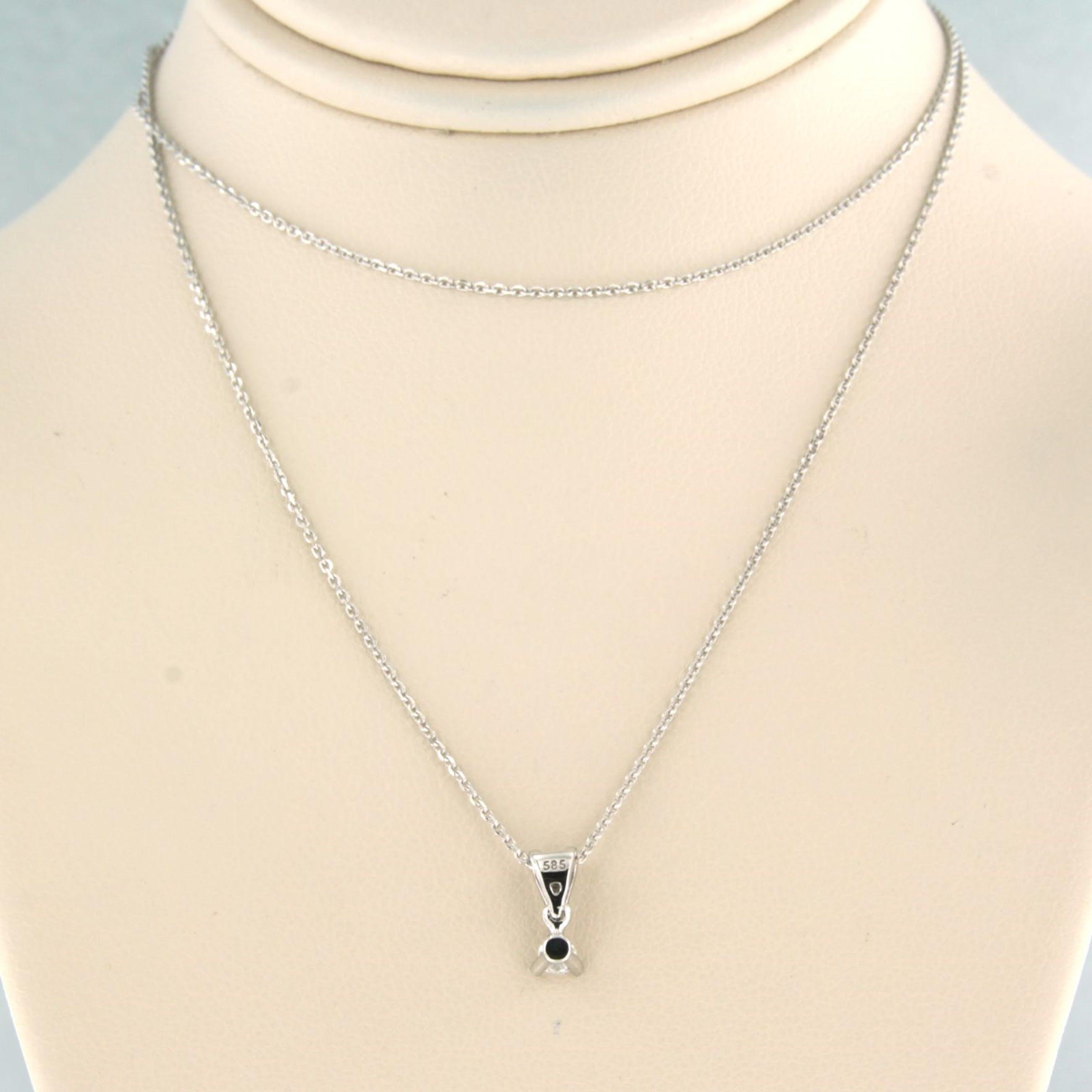 14k collier met solitair hanger bezet met briljant geslepen diamant 0,08ct kopen? Bied vanaf 160!
