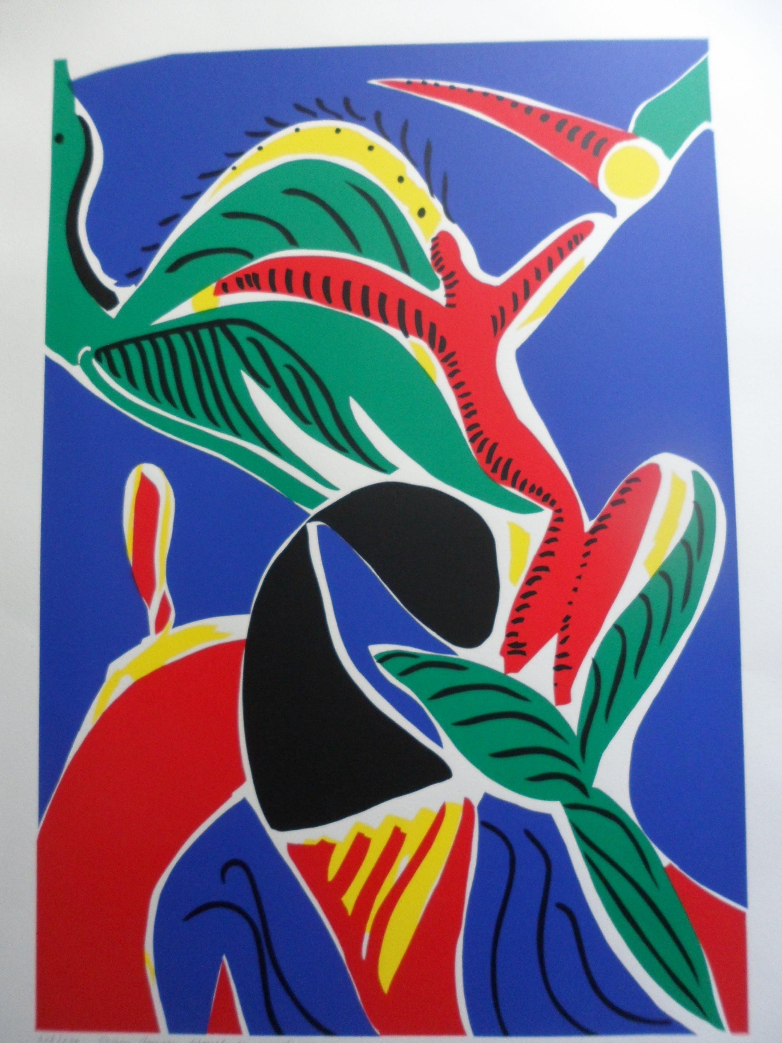 """Yolande Brouwers - Zeefdruk. Titel, """"Dans tussen hemel en aarde"""". kopen? Bied vanaf 15!"""