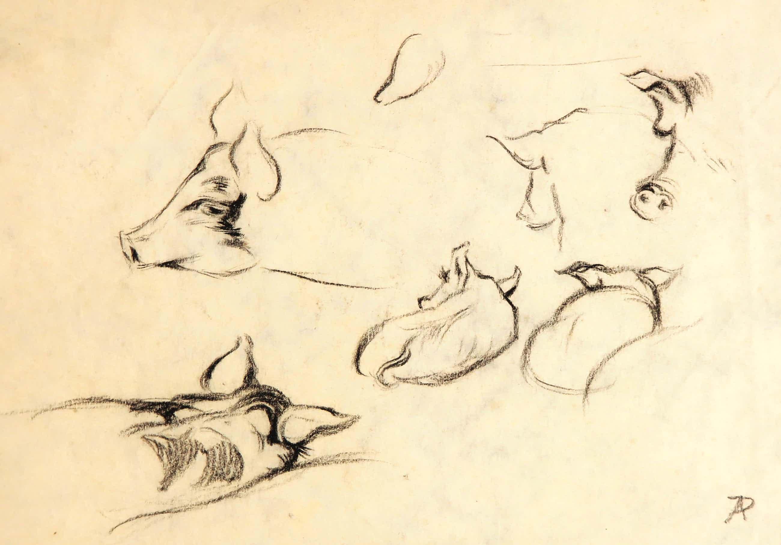Anton Pieck - Zwart/wit potlood op schetspapier, Zes varkens kopen? Bied vanaf 100!