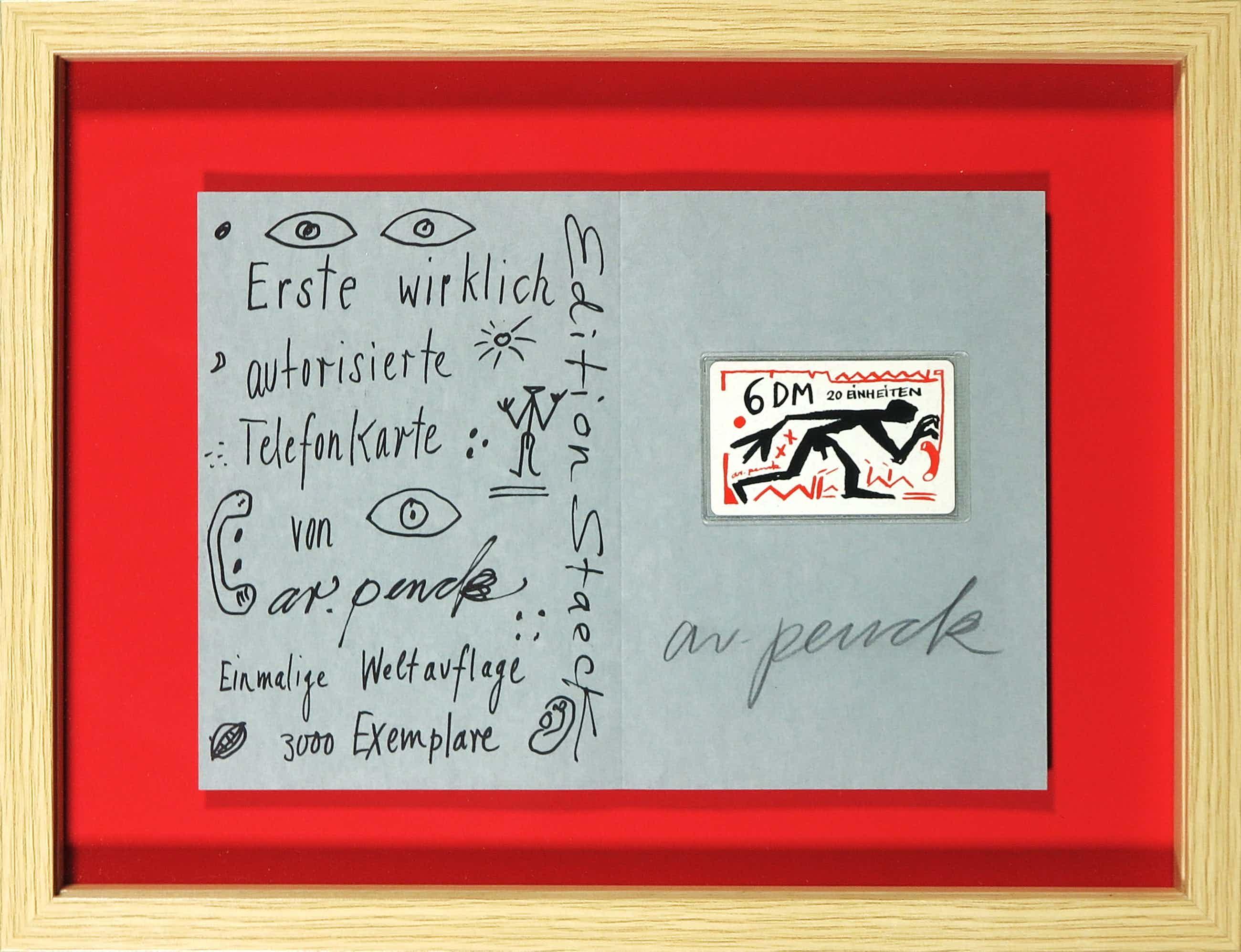 A.R. Penck - Gesigneerde zeefdruk met (ongeopende) telefoonkaart kopen? Bied vanaf 70!