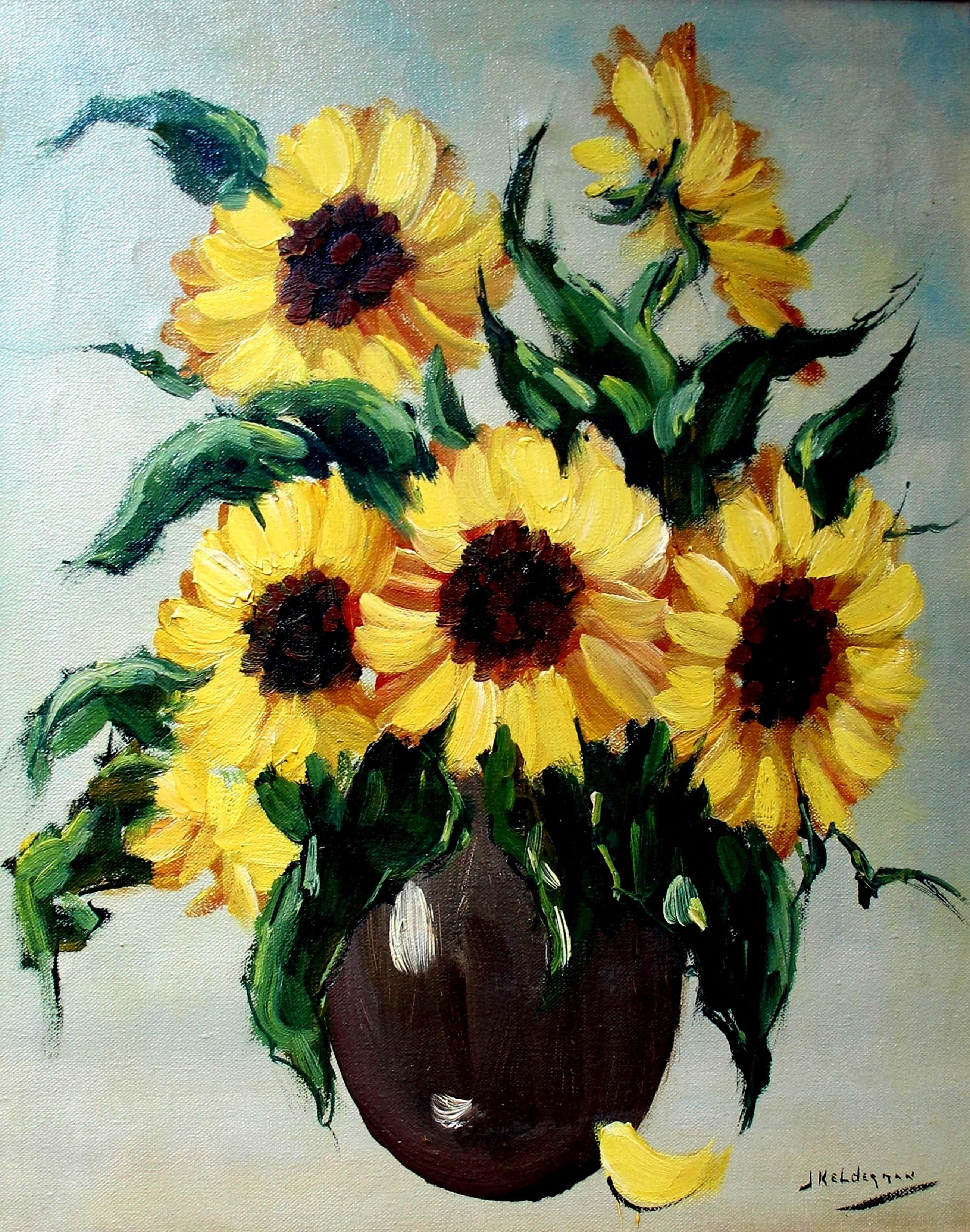 Jan Kelderman - Acryl op doek - vaas met zonnebloemen kopen? Bied vanaf 70!