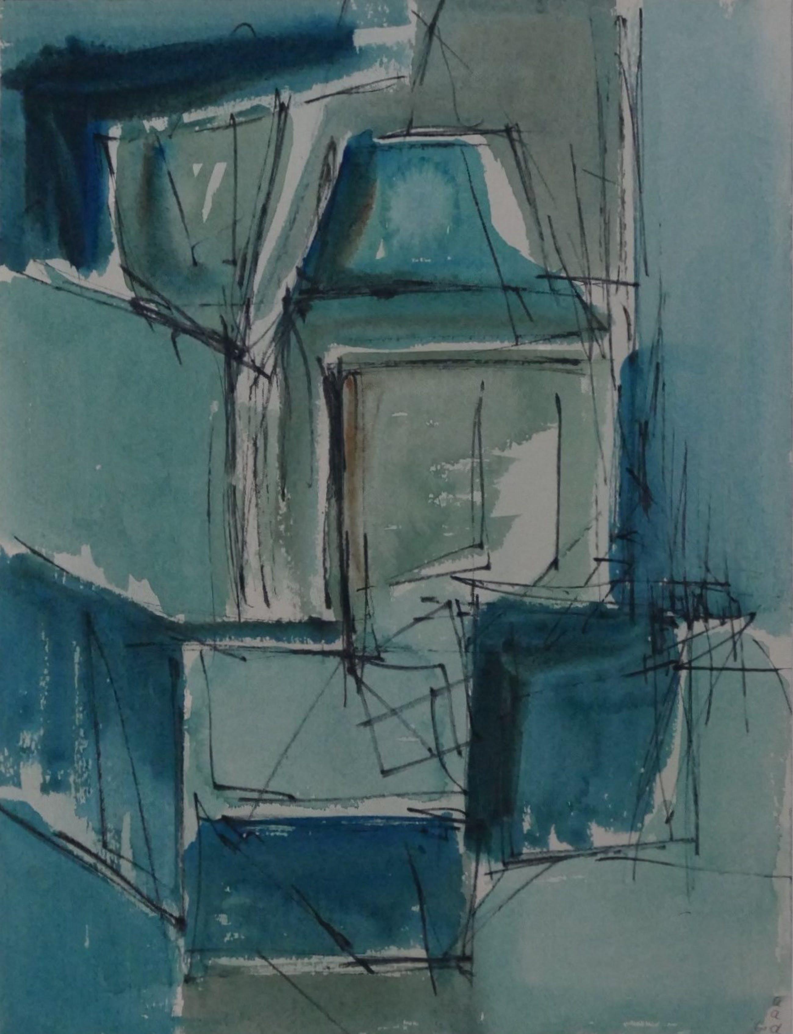 Adine Engelman - Abstracte compositie (1961), aquarel kopen? Bied vanaf 40!