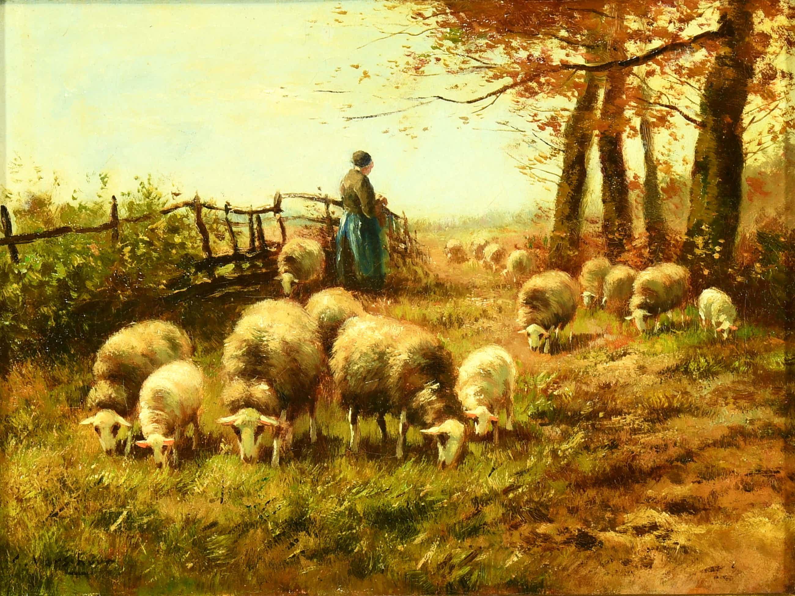 """Cor Bouter - (1888-1966) - """"Herderin met schapen""""- Olieverf op doek - Signatuur L. kopen? Bied vanaf 325!"""