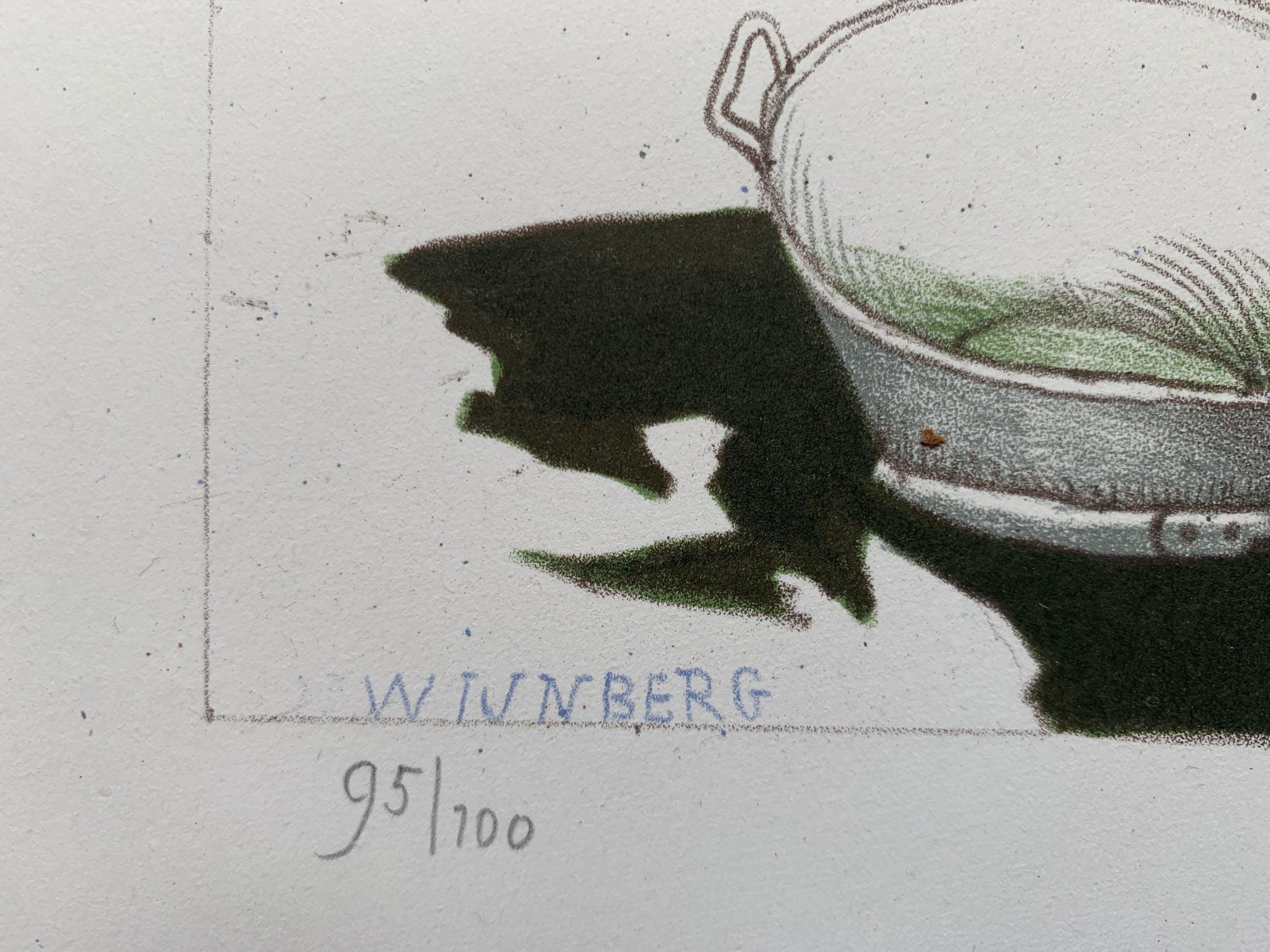 Nicolaas Wijnberg - kleurenlitho - 'Boers tafereel met badkuip' - 1982 kopen? Bied vanaf 70!