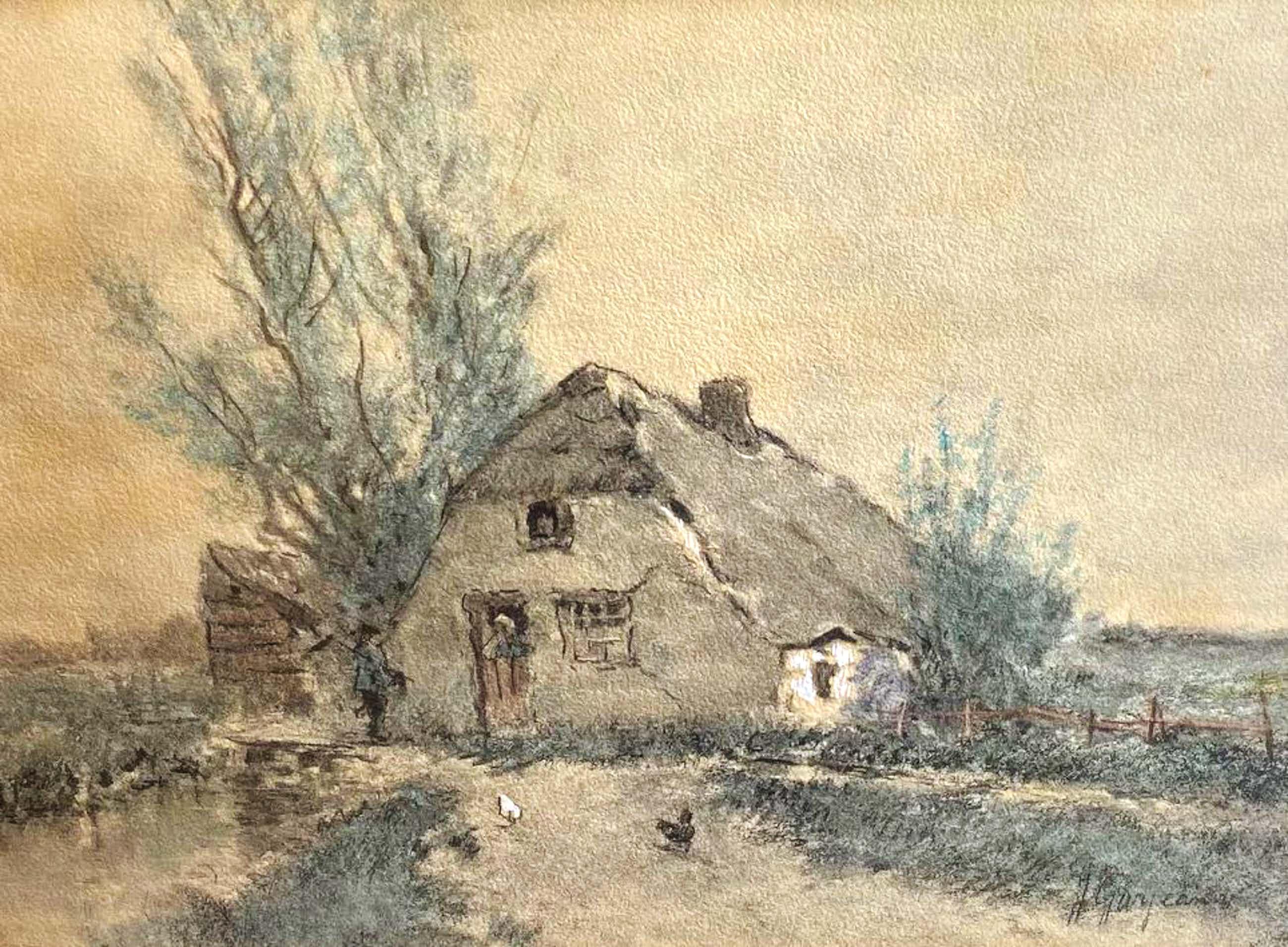 Johannes Josephus Garjeanne - C5162-1, Zicht op boerderij met kippen kopen? Bied vanaf 50!