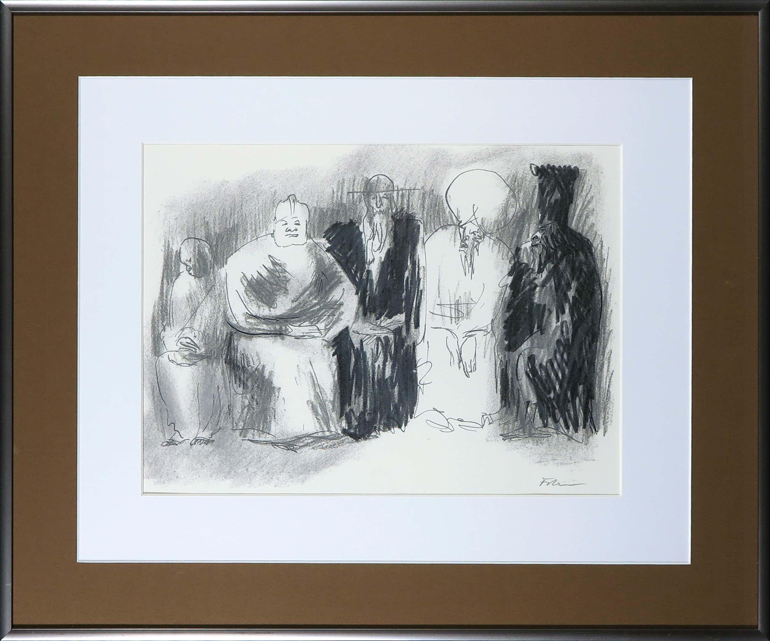 Luis Filcer - Handbewerkte litho, Compositie met figuren - Ingelijst kopen? Bied vanaf 45!