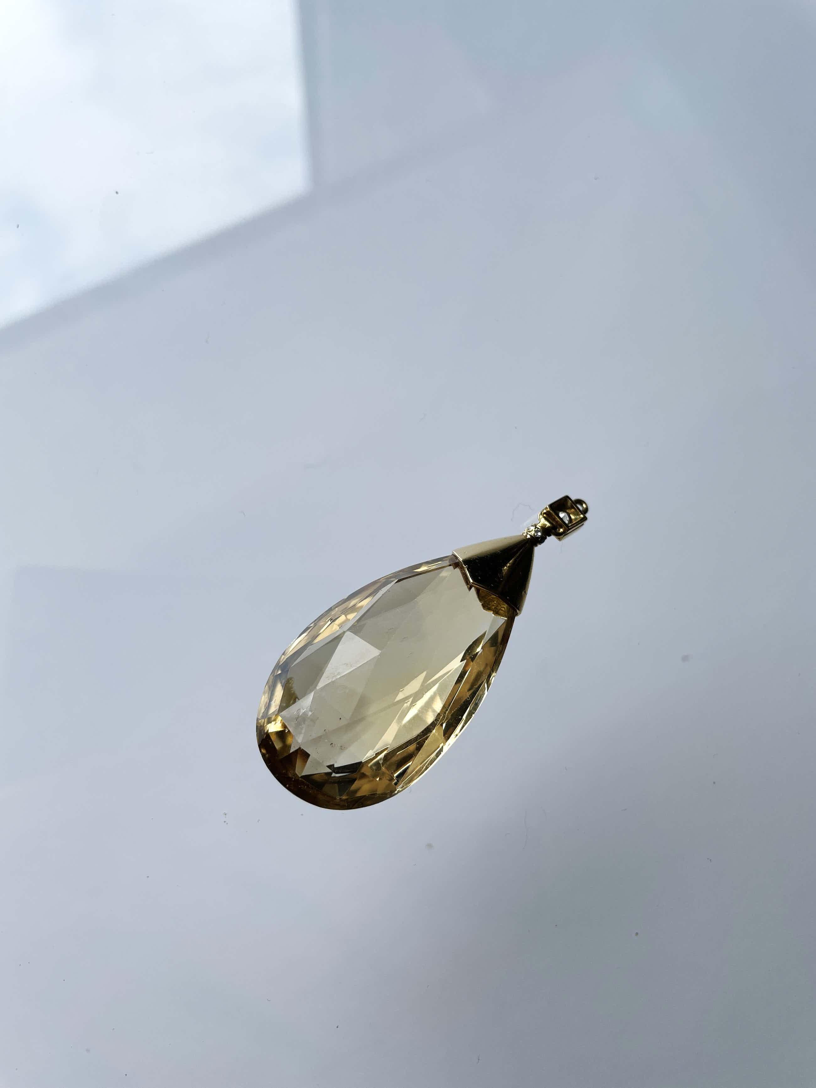 18kt gouden diamanten hanger+citrien, 23,64 gr kopen? Bied vanaf 290!