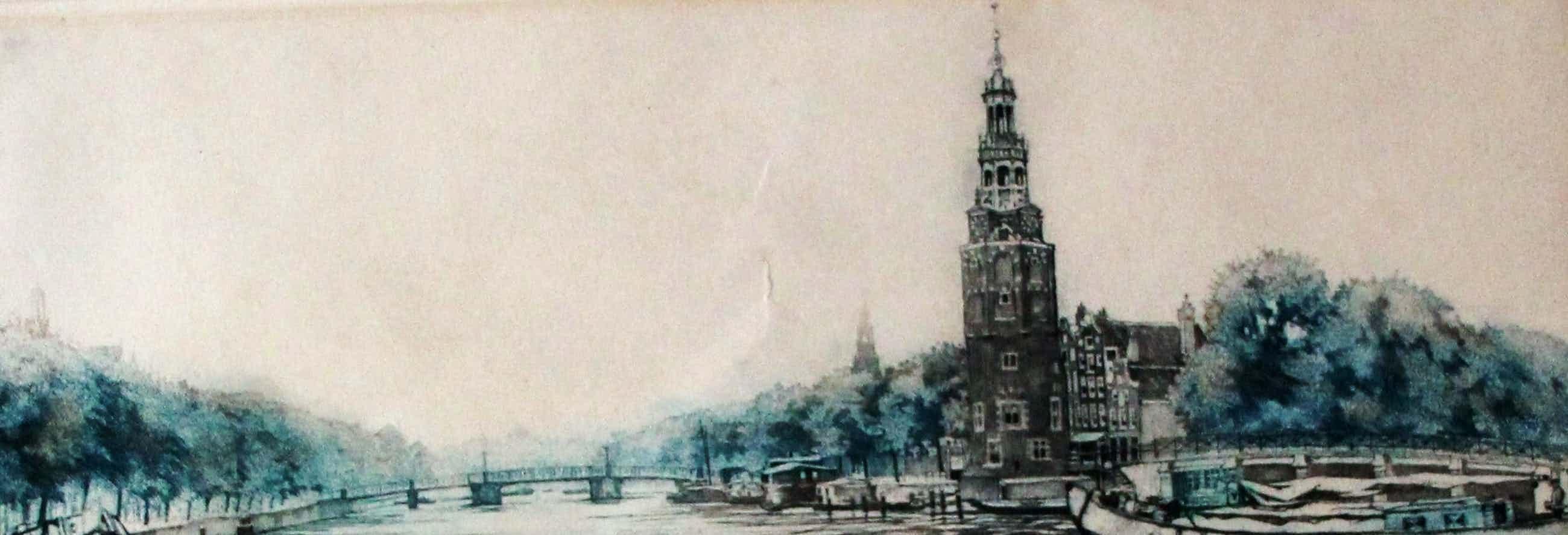 Cornelis Brandenburg - Kleuren ets: Oudeschans Amsterdam kopen? Bied vanaf 115!