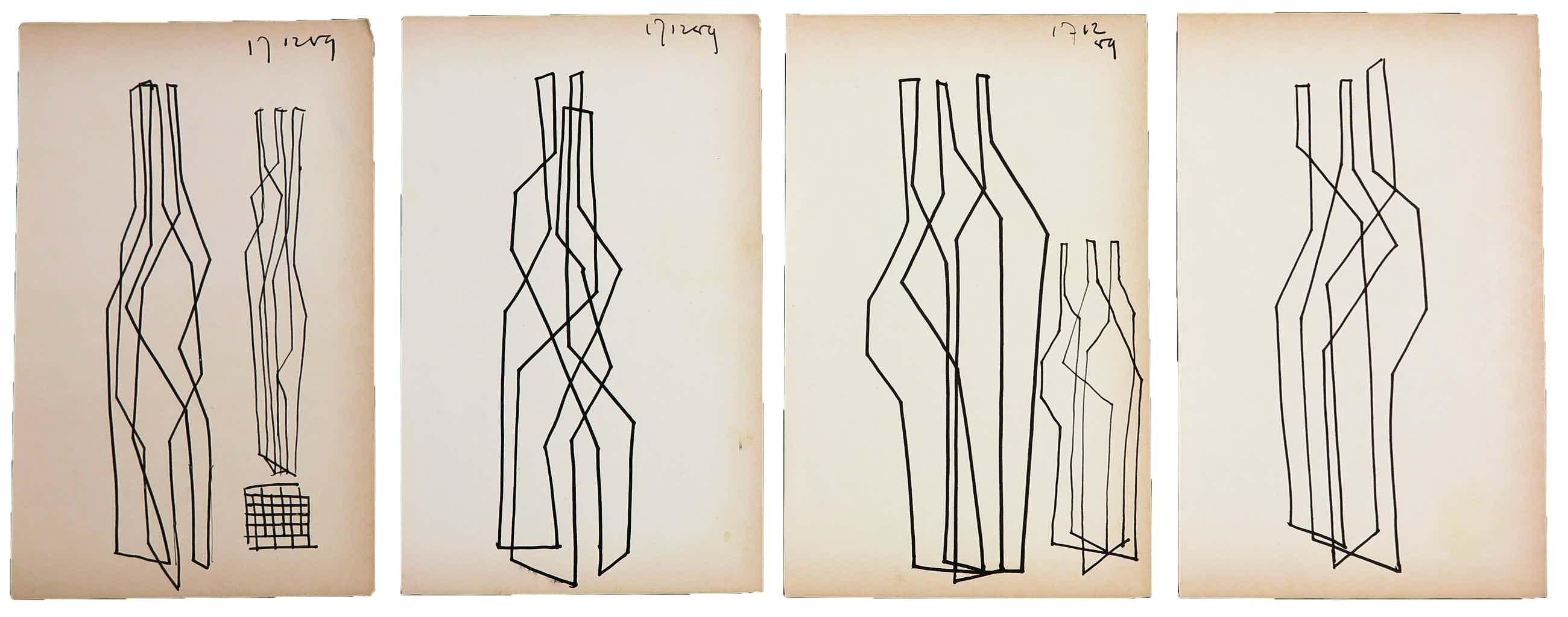 Siep van den Berg - Lot van vier abstracte composities kopen? Bied vanaf 60!