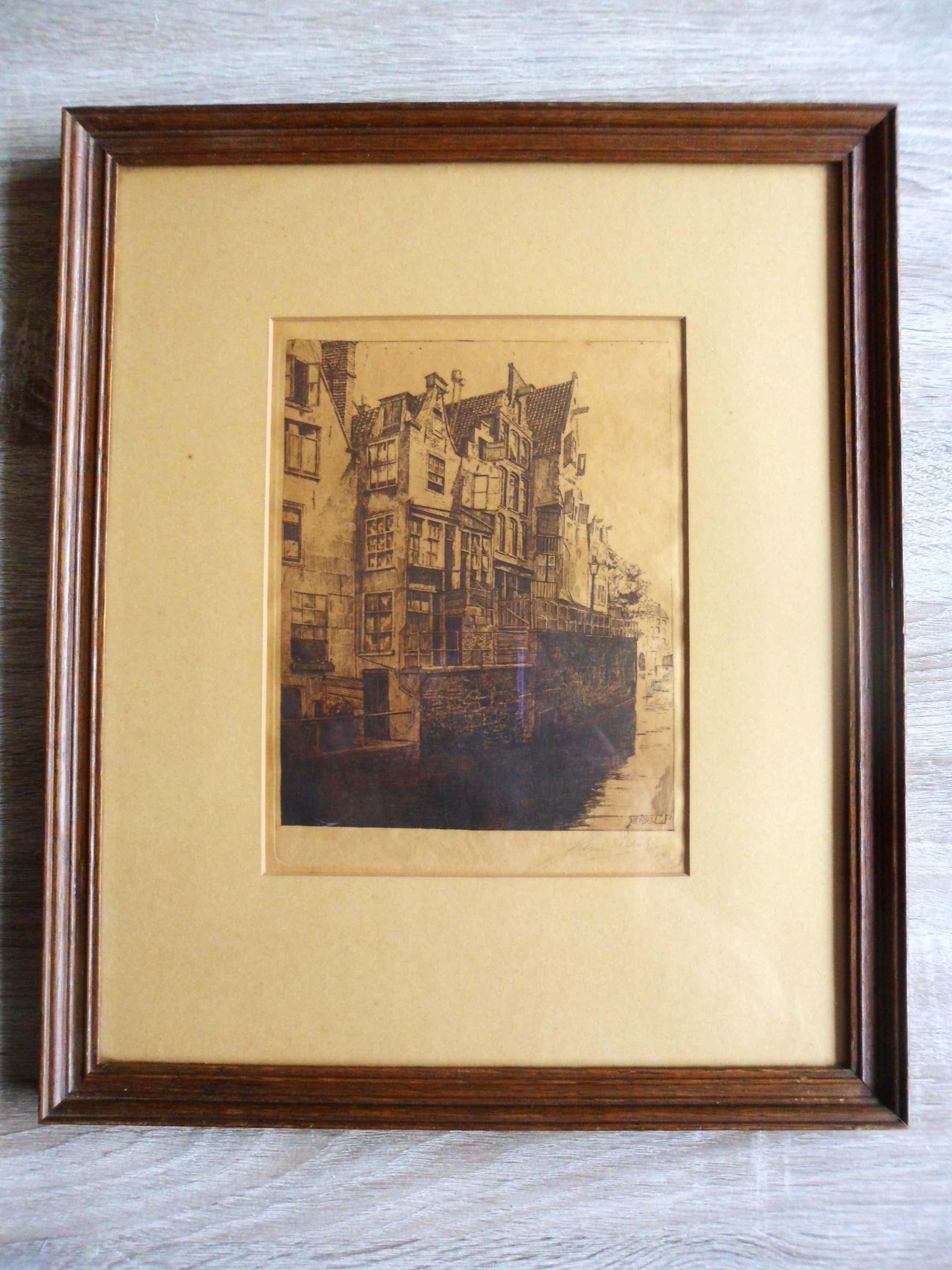 Henri Pieck - gesigneerde ets - Grimnessesluis Amsterdam - 1920 kopen? Bied vanaf 70!