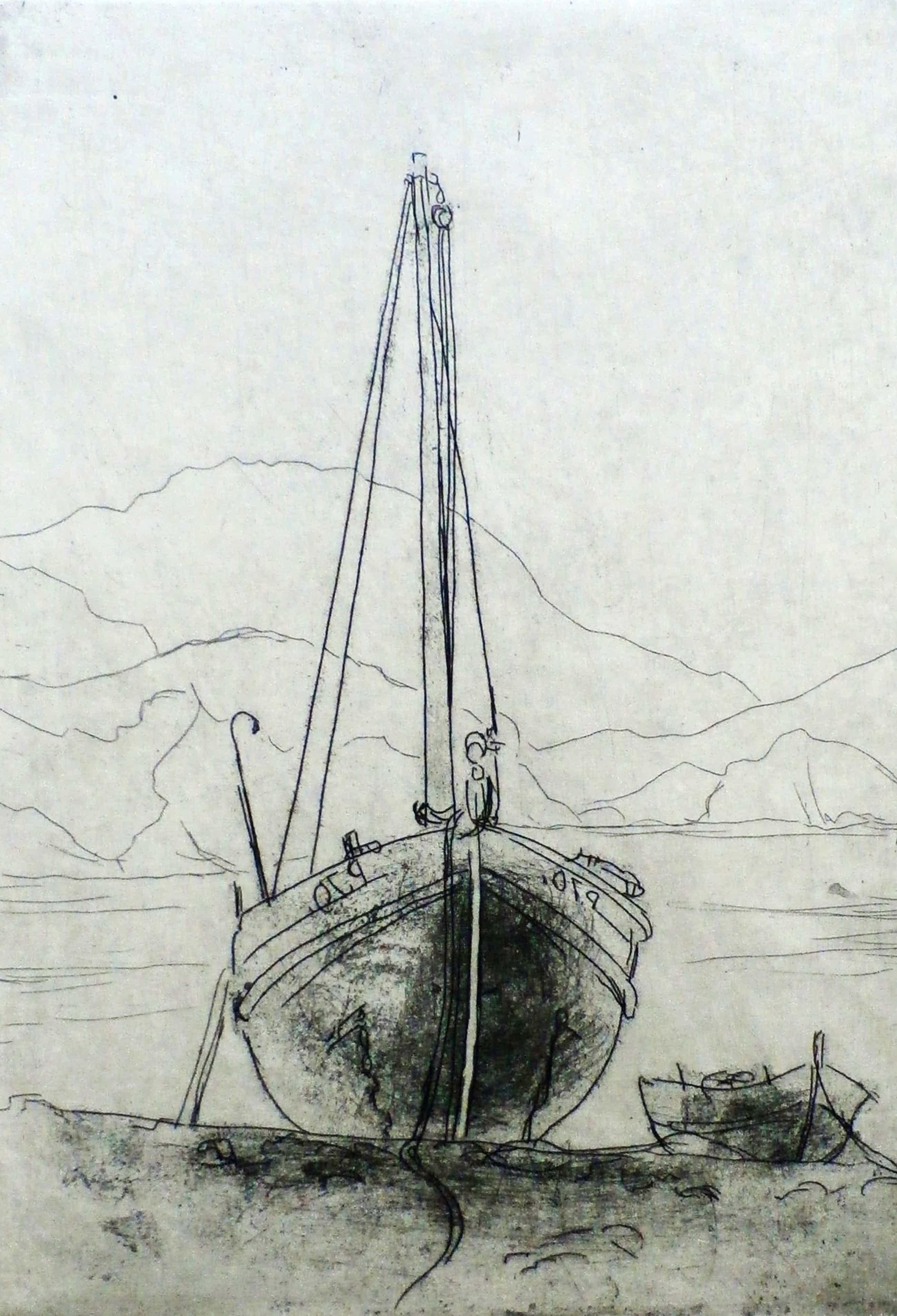 Dick van Luijn - ets: Scheepje aan de kust bij Colliource 1951 kopen? Bied vanaf 35!