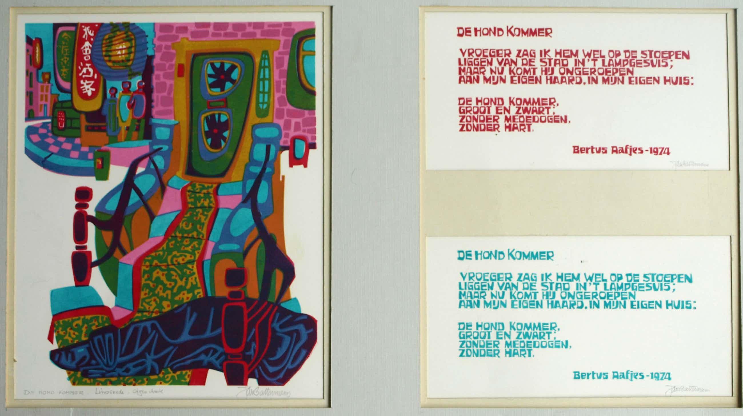 Jan Battermann - Linosnede met een gedicht van Bertus Aafjes , De hond Kommer - 1974 kopen? Bied vanaf 40!