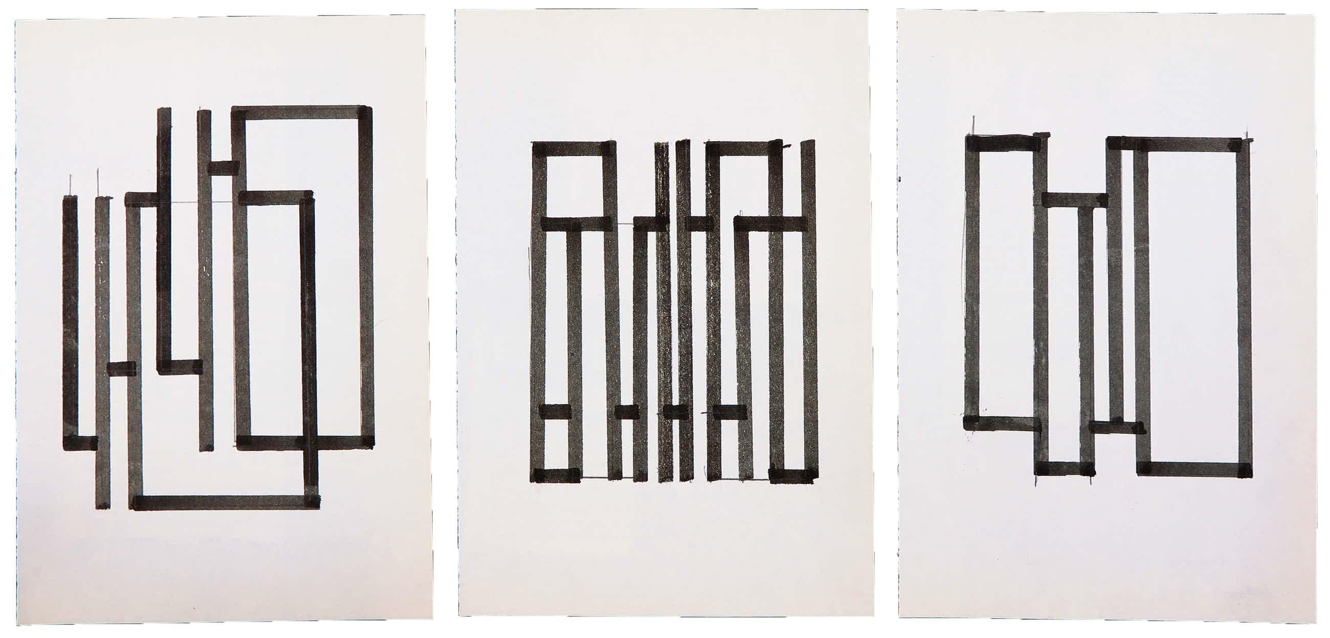 Siep van den Berg - Lot van drie abstracte composities kopen? Bied vanaf 50!