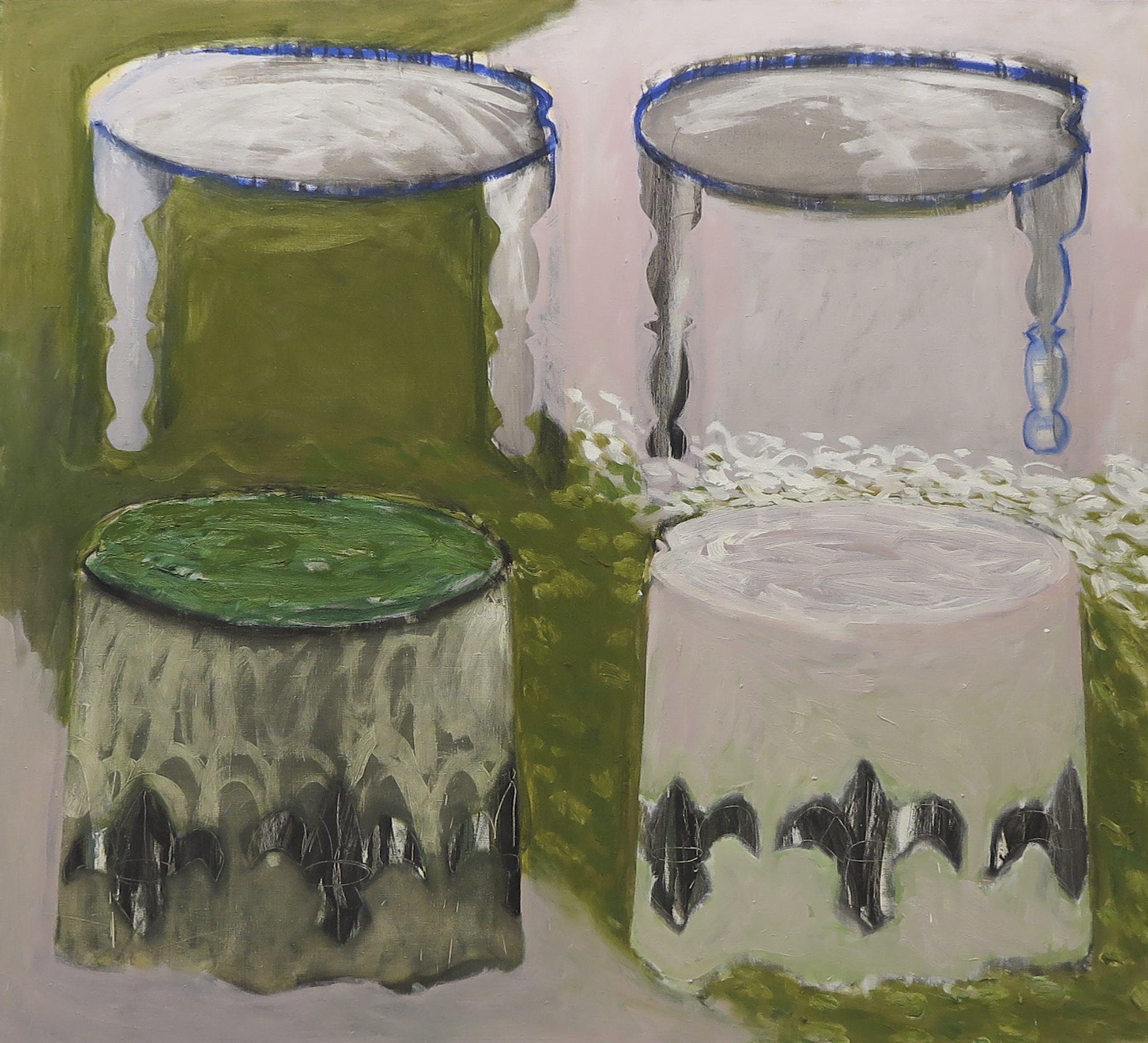 Brigitta ten Berge - Olieverf op doek, Compositie met tafels - Ingelijst (Zeer Groot) kopen? Bied vanaf 1!