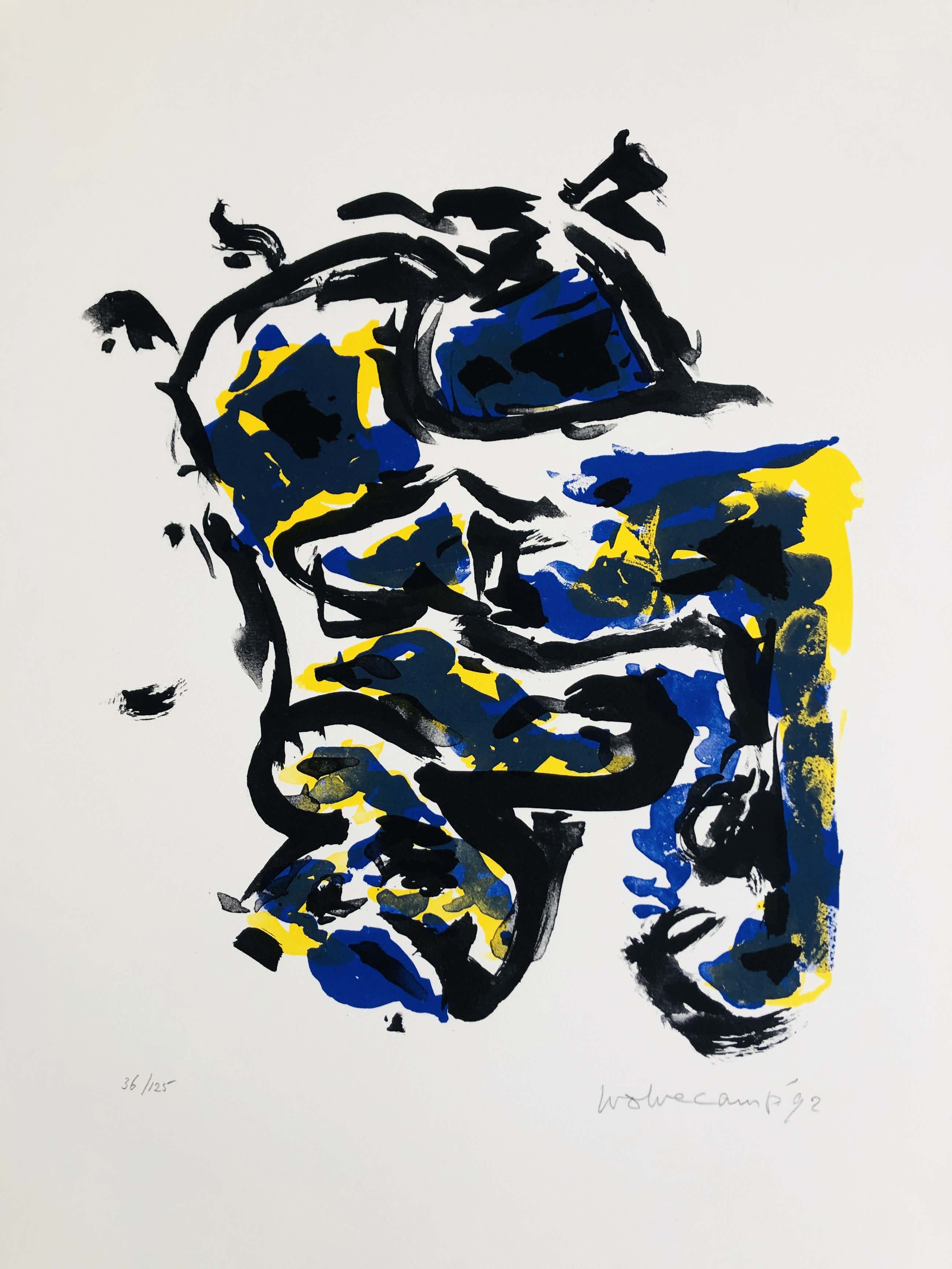 Theo Wolvecamp - compositie met geel, blauw en zwart kopen? Bied vanaf 170!