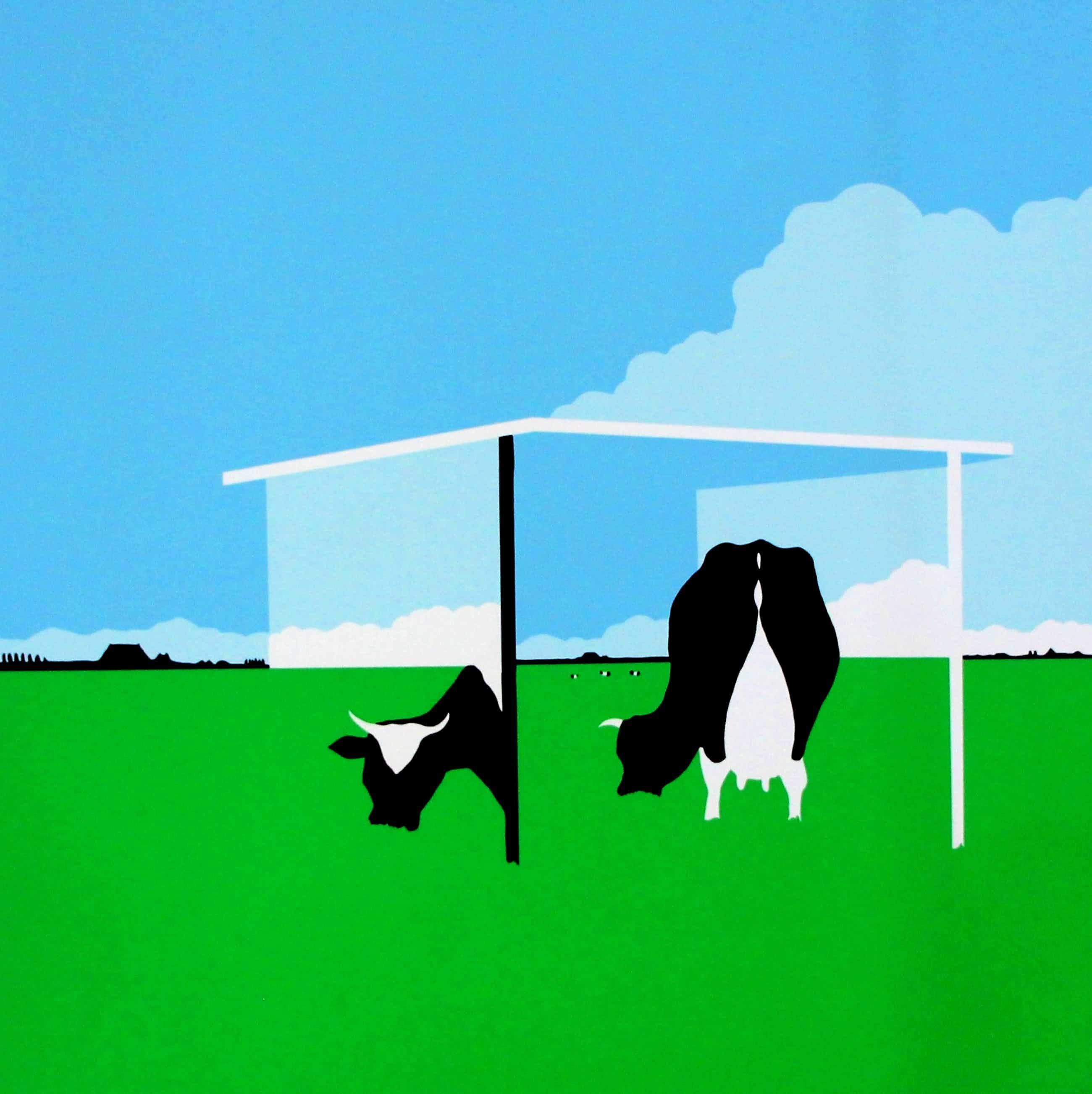 Han Jansen - Zeefdruk: Nederlands landschap met koeien kopen? Bied vanaf 75!