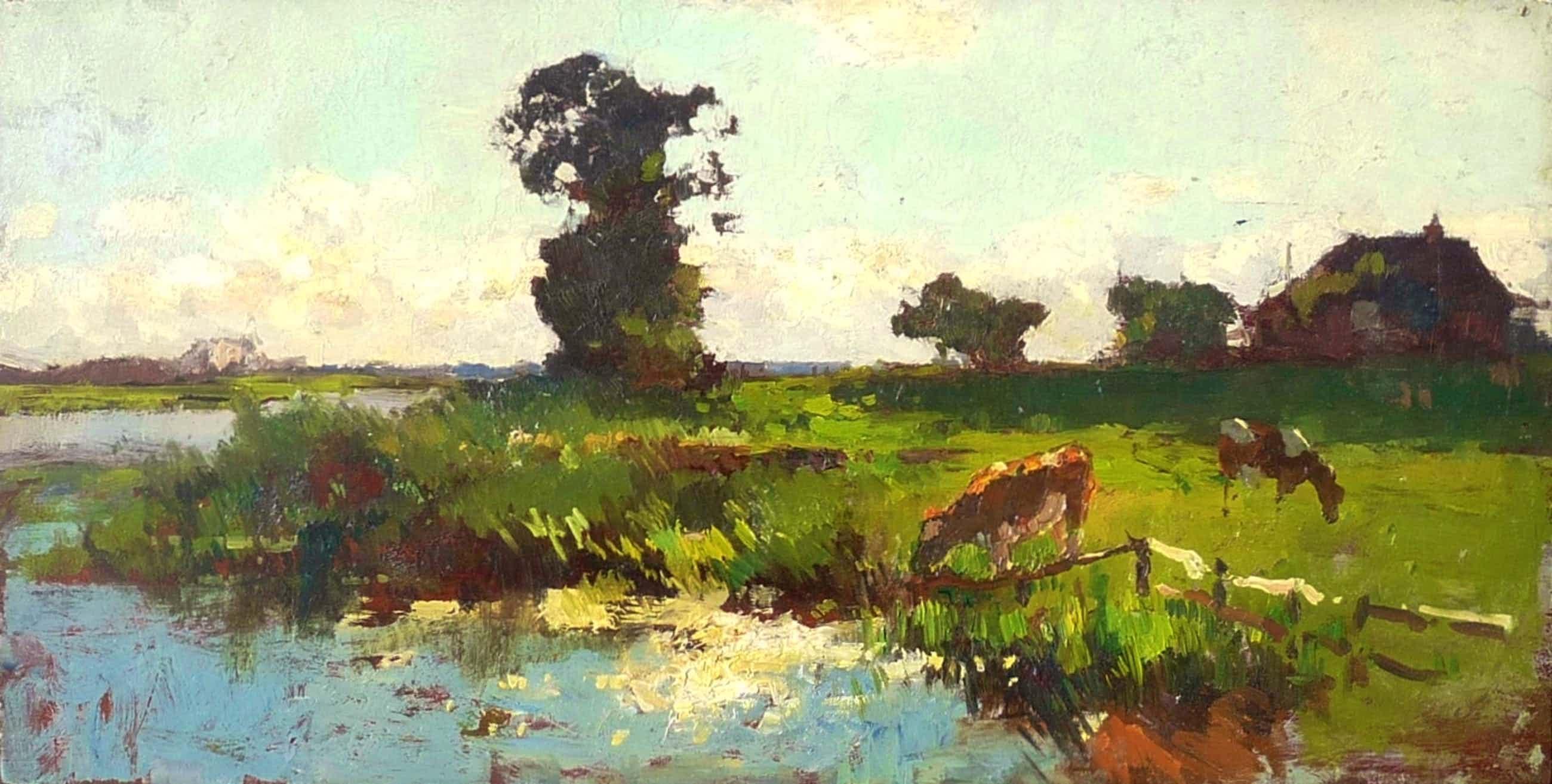 Cornelis Vreedenburgh - Polder met water, koeien, bomen en boerderij kopen? Bied vanaf 1000!
