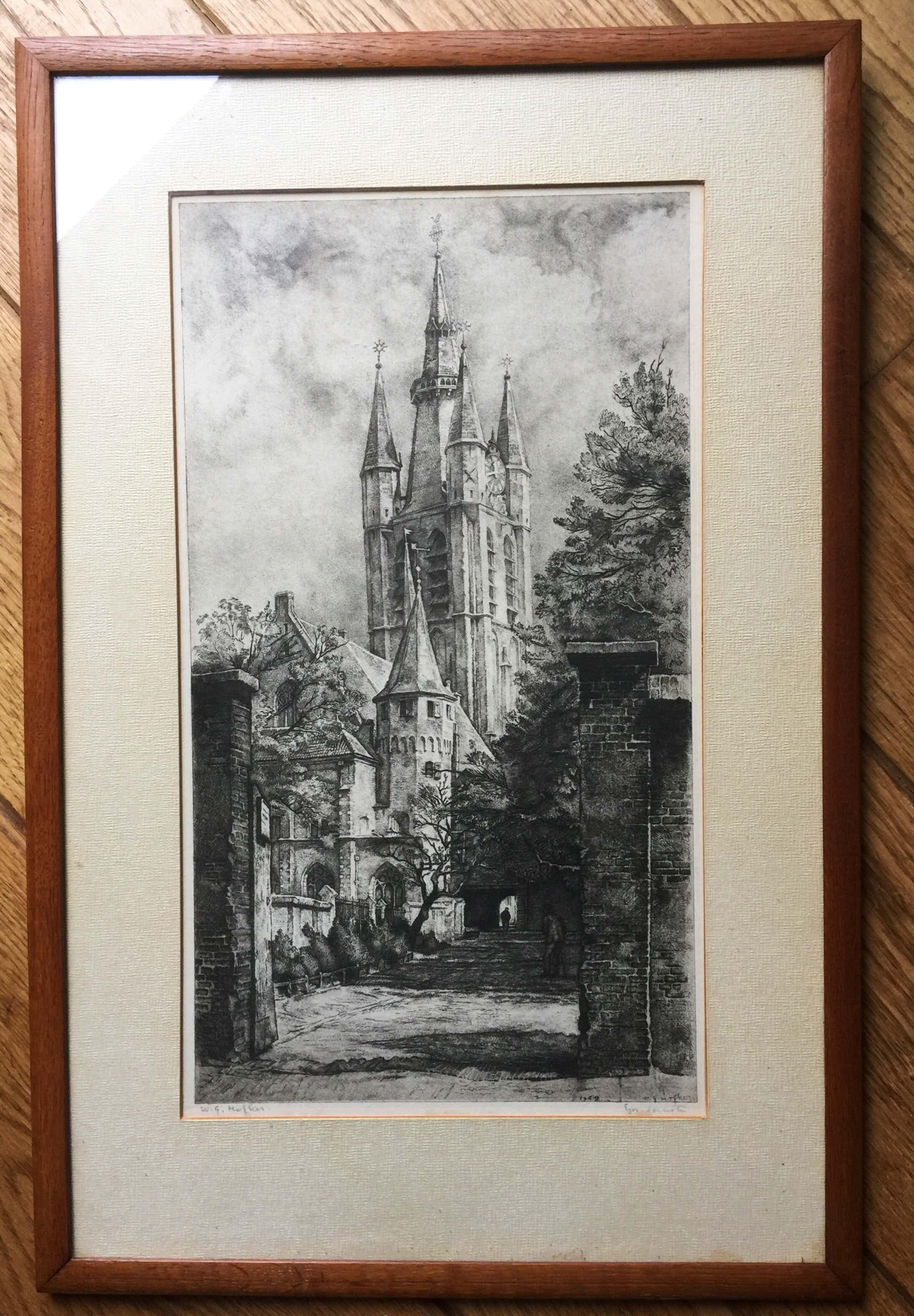 Willem Gerard Hofker - Prinsenhof en Oude Kerk te Delft kopen? Bied vanaf 80!
