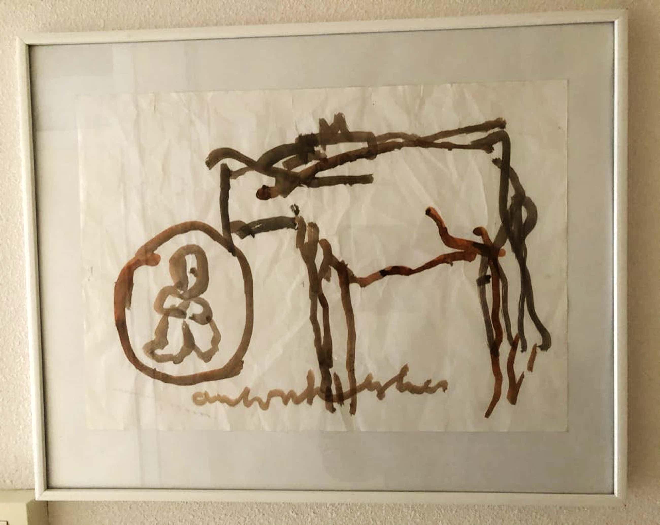 """Anton Heyboer - Laat werk van """" Koe met kind """" op gekreukt papier. kopen? Bied vanaf 85!"""