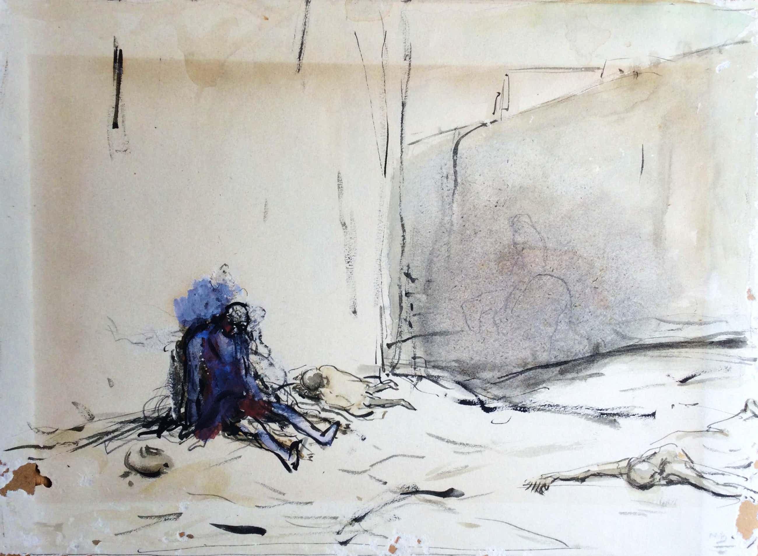 Marius Bauer - C5057, Bedelaar zittend tegen een muur kopen? Bied vanaf 85!