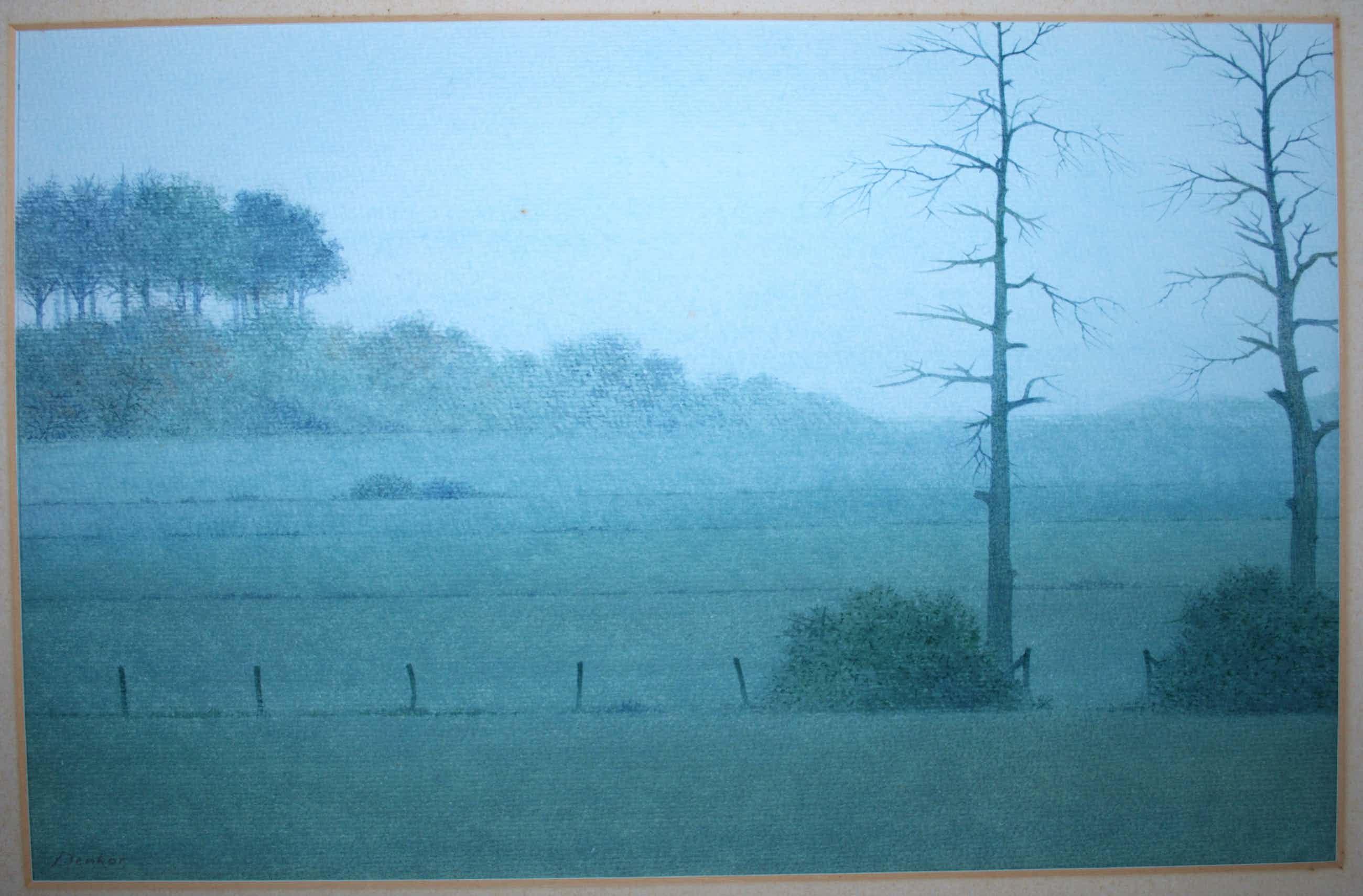 Denkor - nevelig landschap aquarel kopen? Bied vanaf 55!