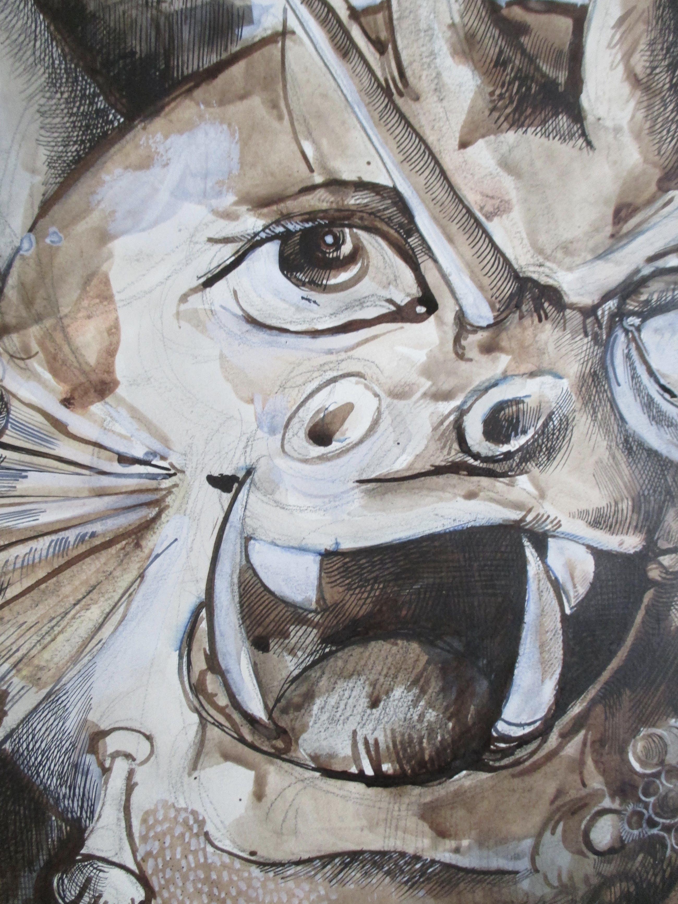 """Jan Bernard Meinen - Pentekening/aquarel """"Zeemonster"""" kopen? Bied vanaf 50!"""