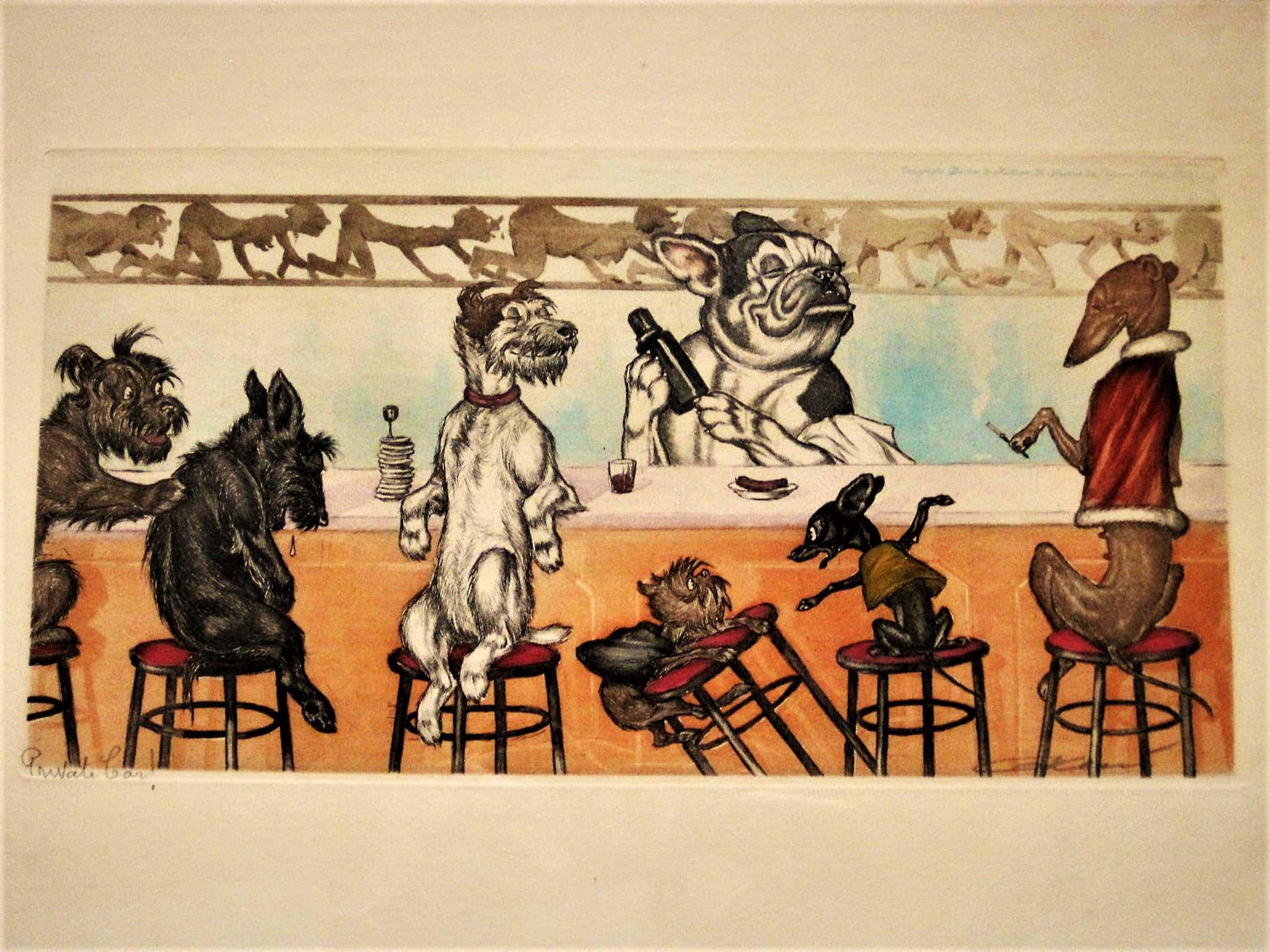 """Arthur Boris O'Klein - Zijn bekende, in 1938 vervaardigde potloodgesigneerde Litho """"Private Bar! kopen? Bied vanaf 40!"""