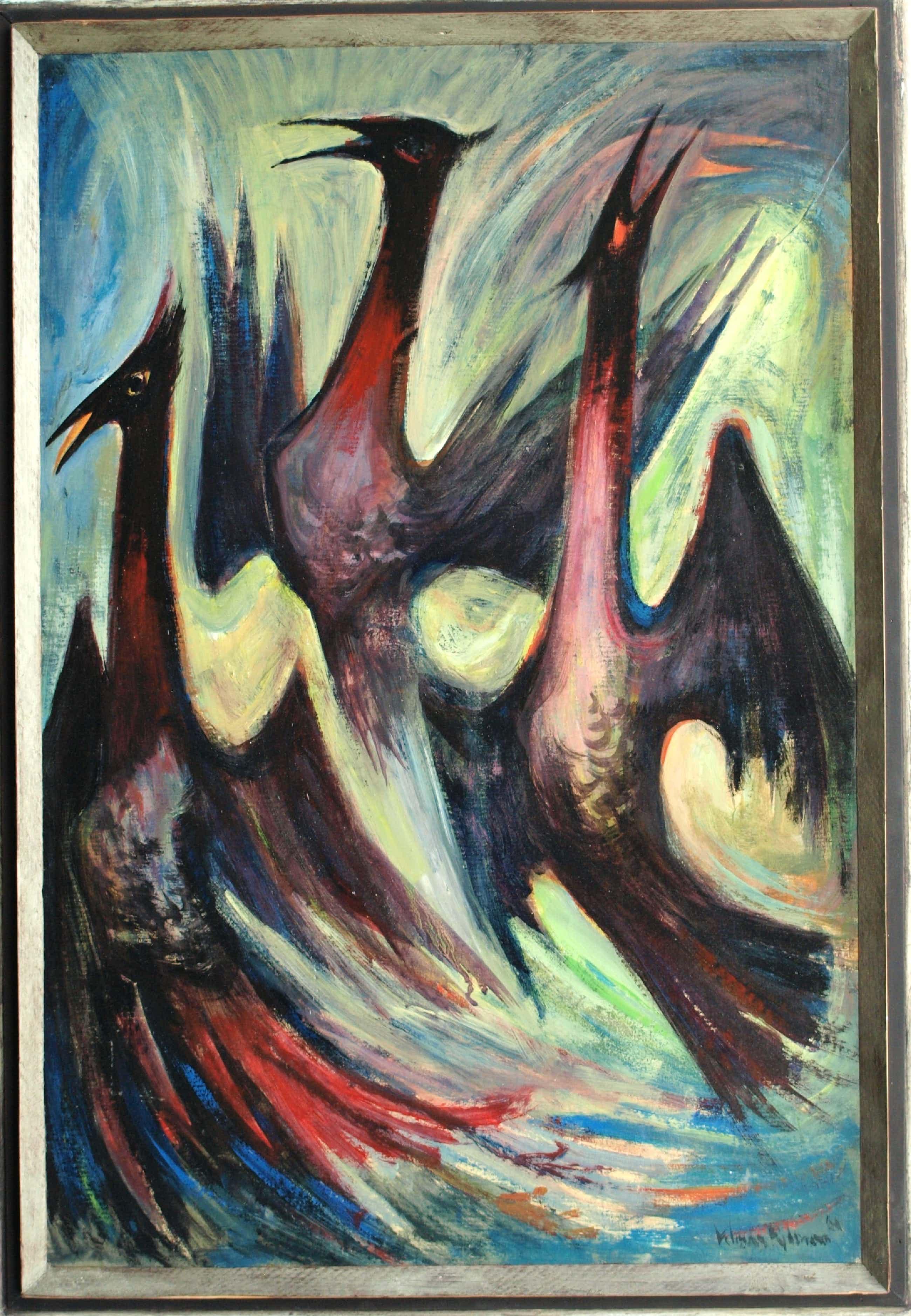 """Klaas Pijlman - Olieverf op board , """"Vogels"""" - ingelijst – 1961 kopen? Bied vanaf 50!"""