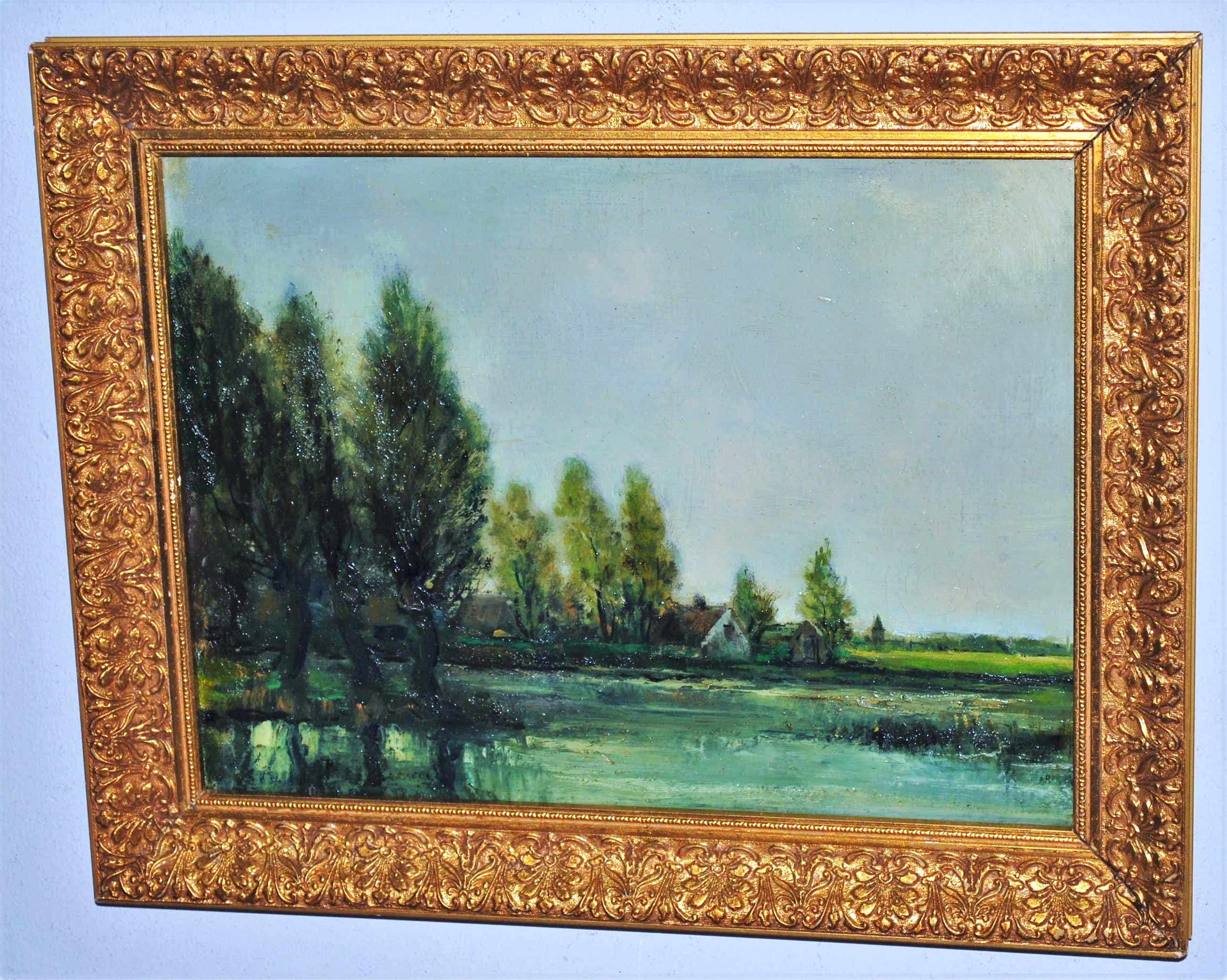 Gerrit Marre - boerderijen aan het water - olieverfschilderij kopen? Bied vanaf 60!