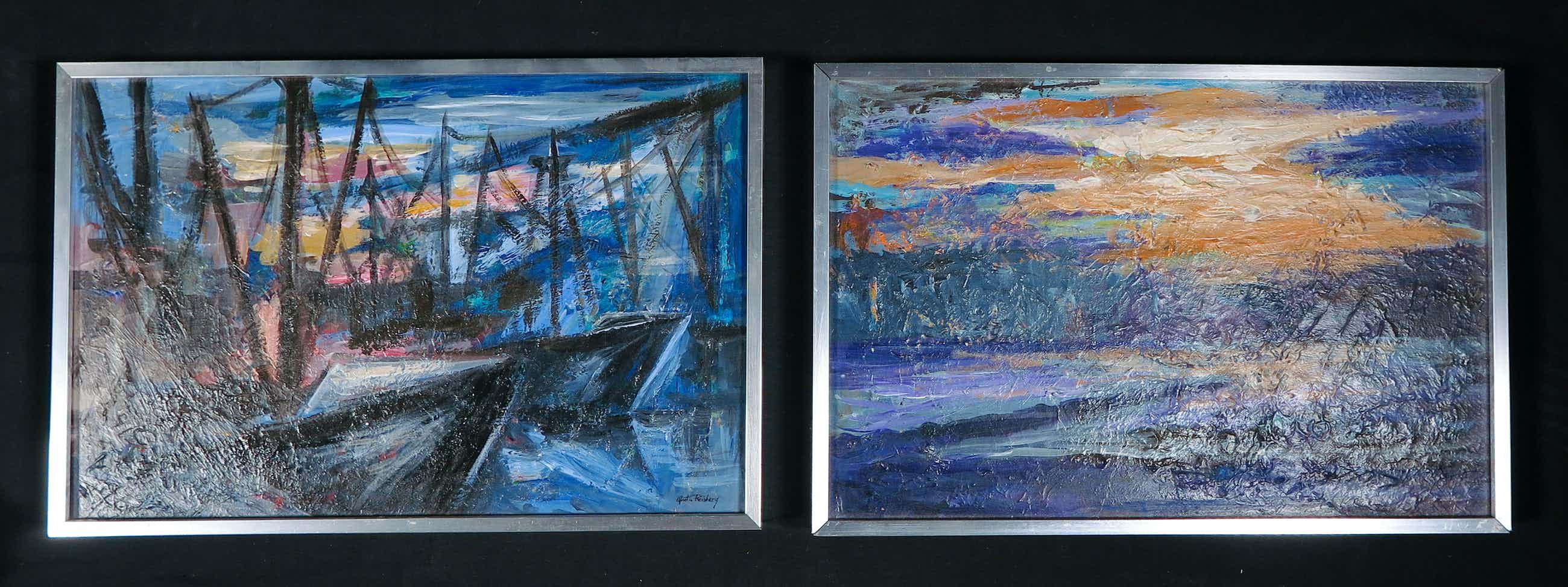 Martin Reisberg - Lot van twee werken, acryl op board- Ingelijst kopen? Bied vanaf 62!