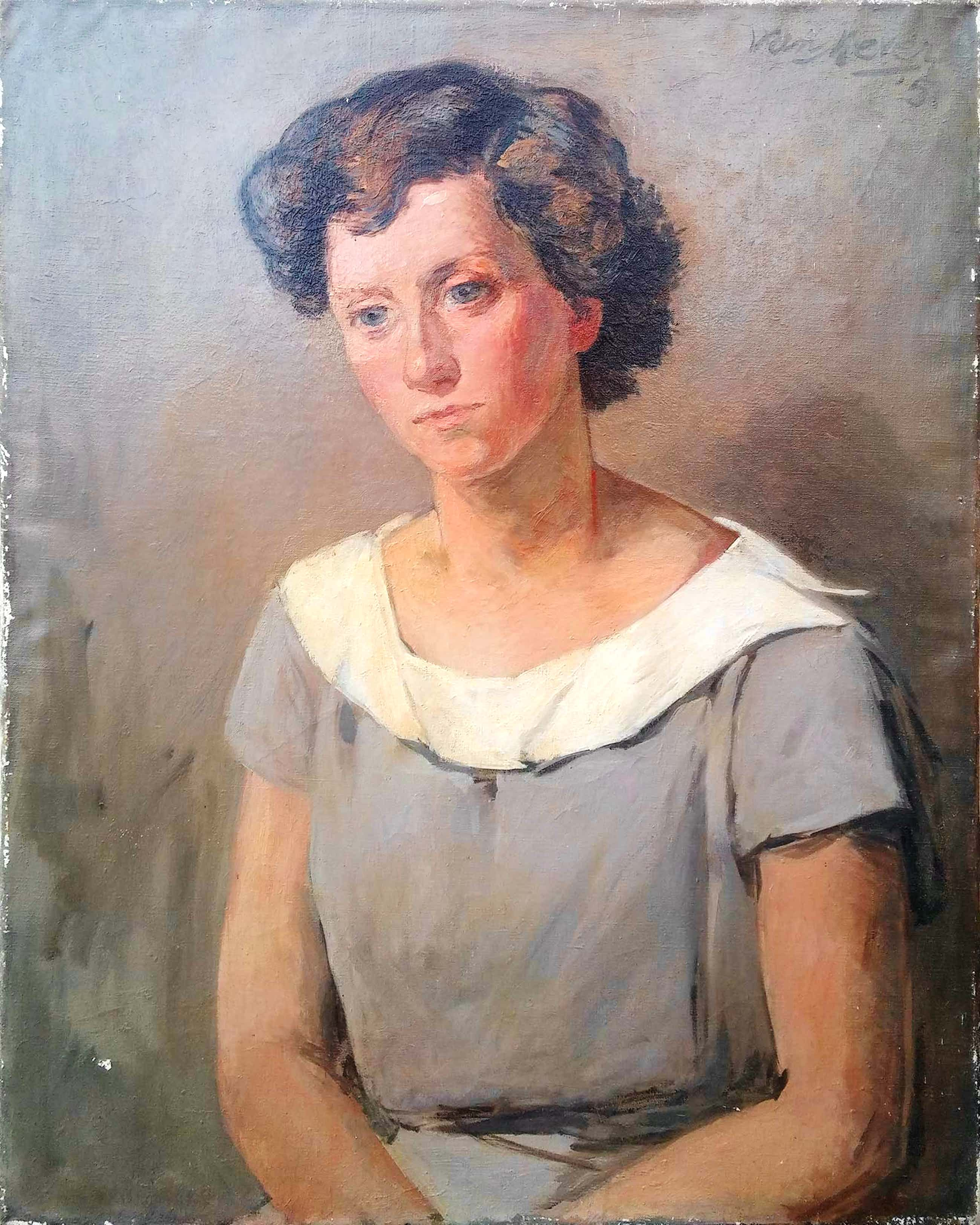 Arie van Mever - Portret van een dame - olieverf 1951 - 20334 kopen? Bied vanaf 75!