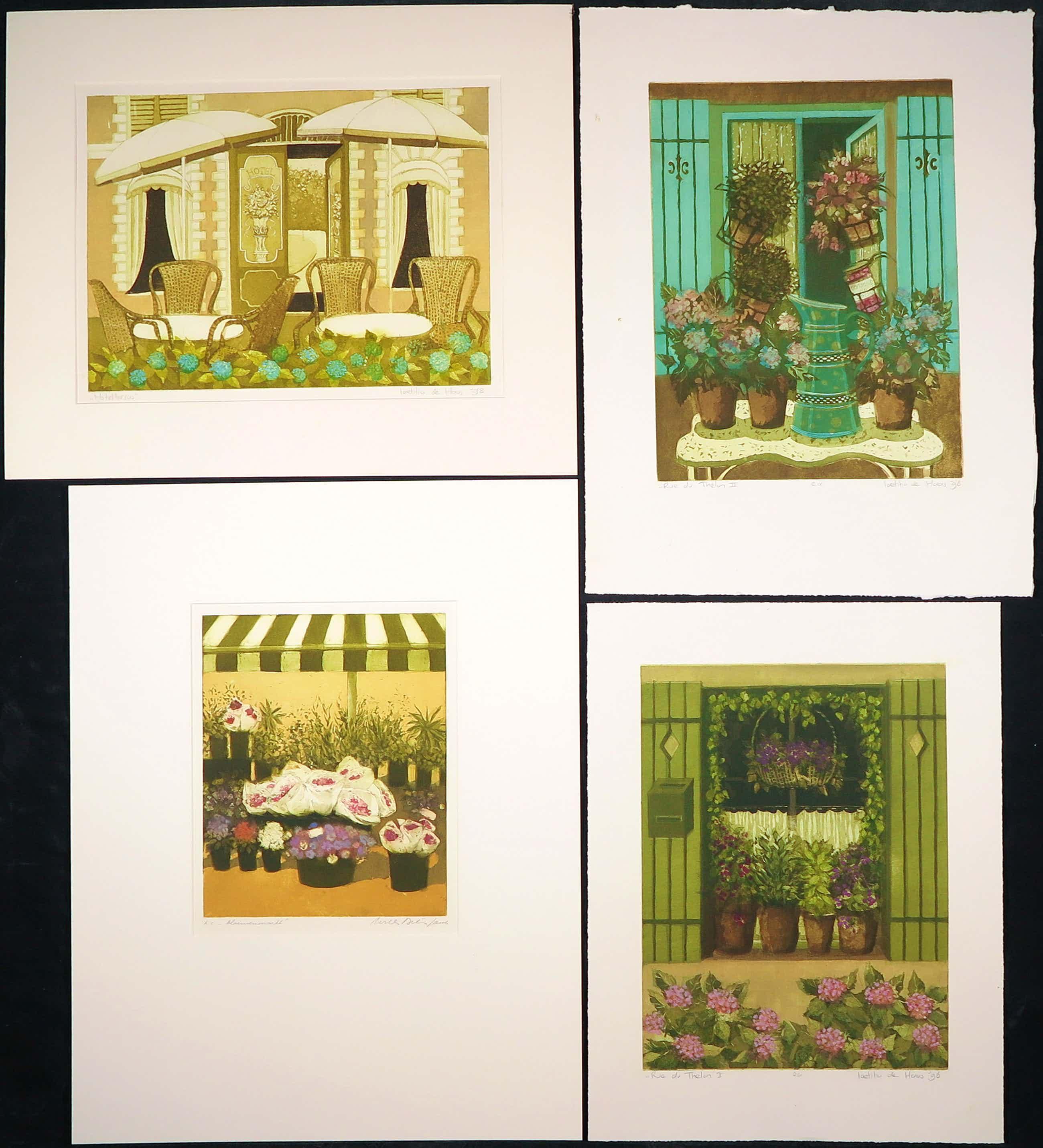 Willy Belinfante - en Laetitia de Haas - Lot van vier kleurenetsen, Bloemen kopen? Bied vanaf 35!