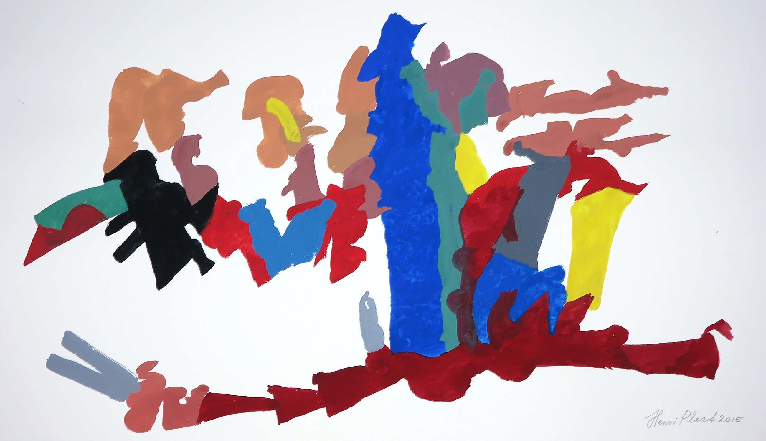 Henri Plaat - Gouache op papier, Zonder titel (groot) kopen? Bied vanaf 50!