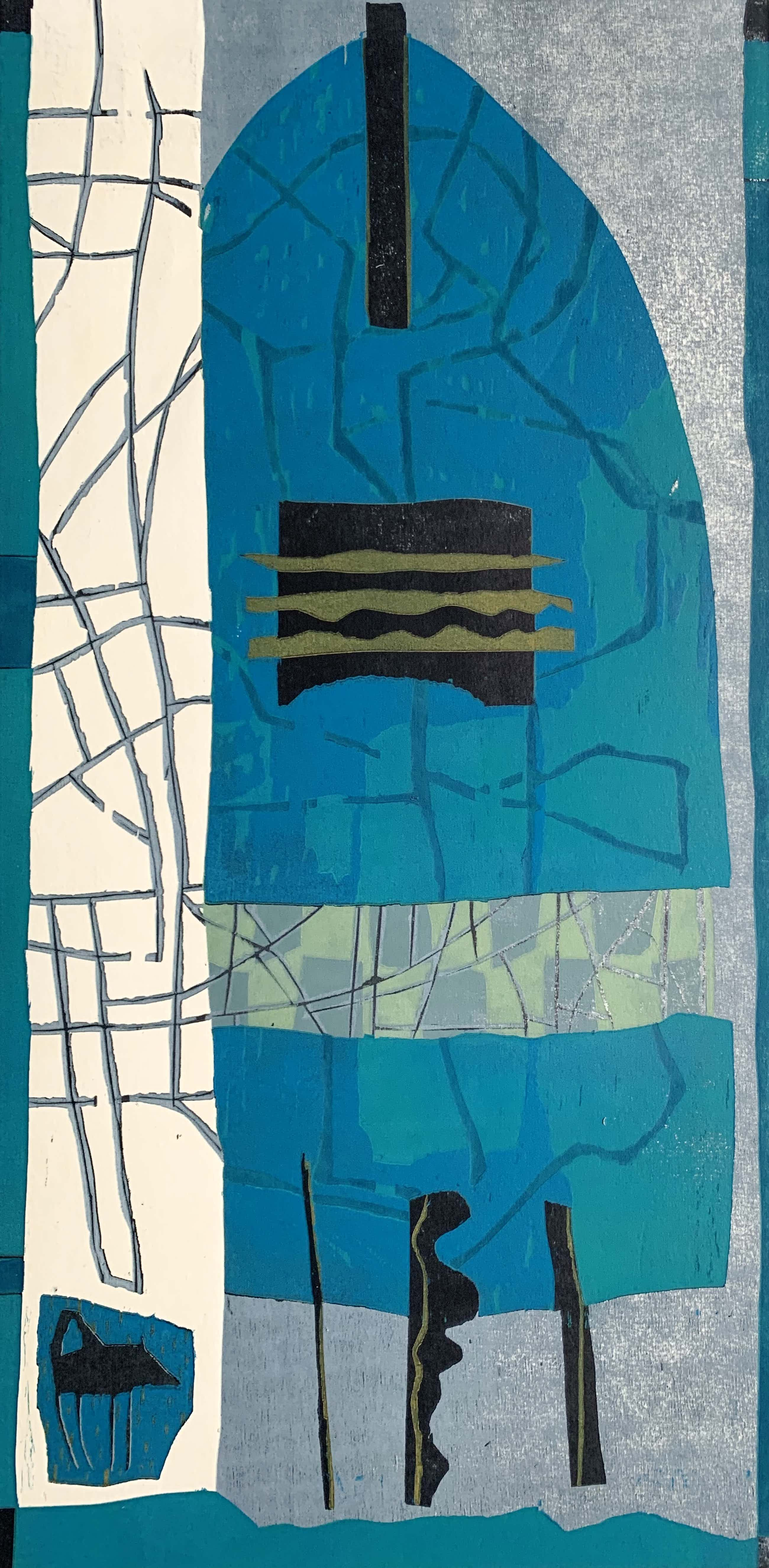 Willy van der Duyn - Kleurenhoutsnede   'Bijtend blauw'   1995 (ZEER KLEINE OPLAGE) kopen? Bied vanaf 50!