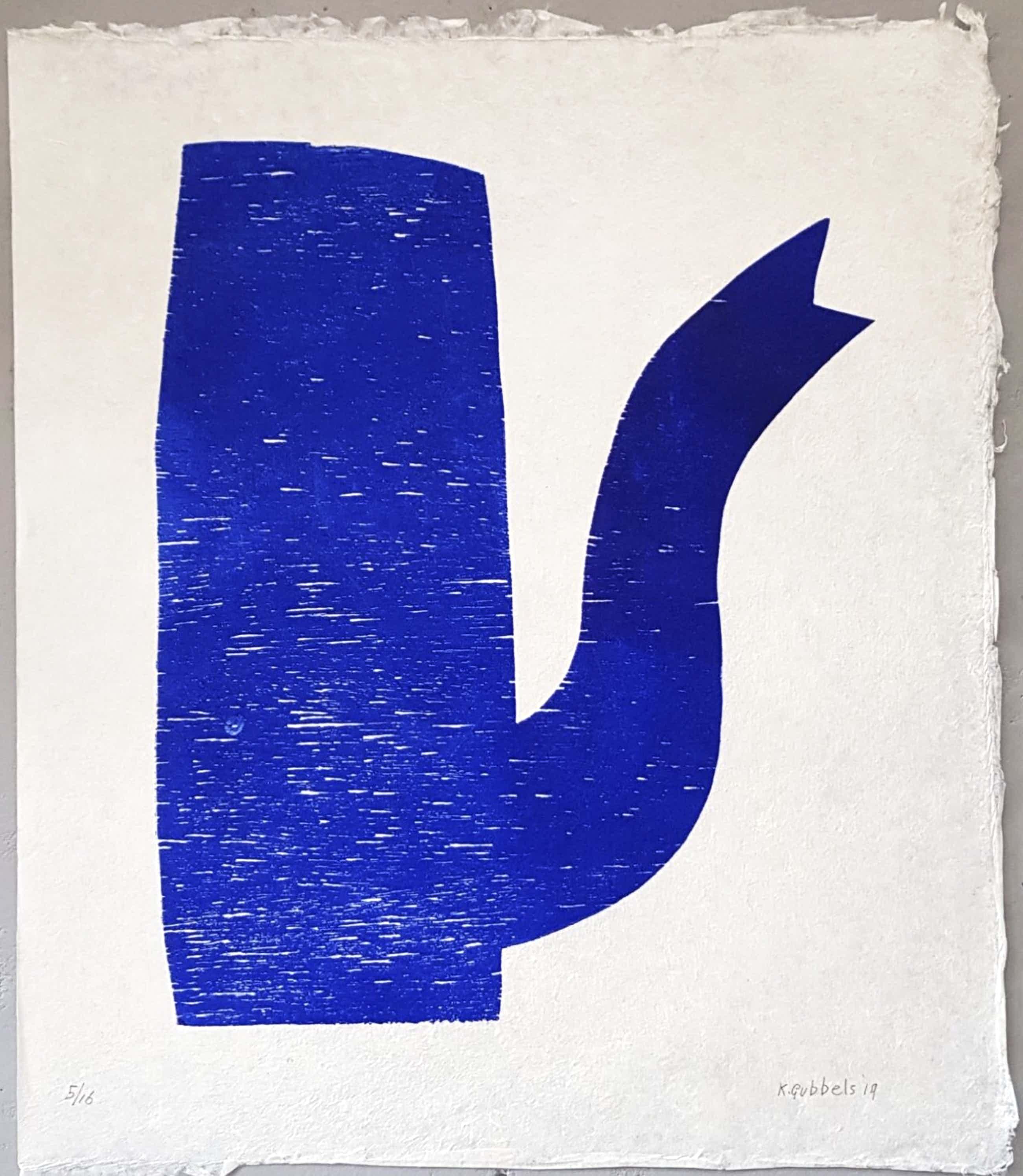 Klaas Gubbels - houtdruk 'Blauwe Kan' - oplage 16 ex. kopen? Bied vanaf 495!