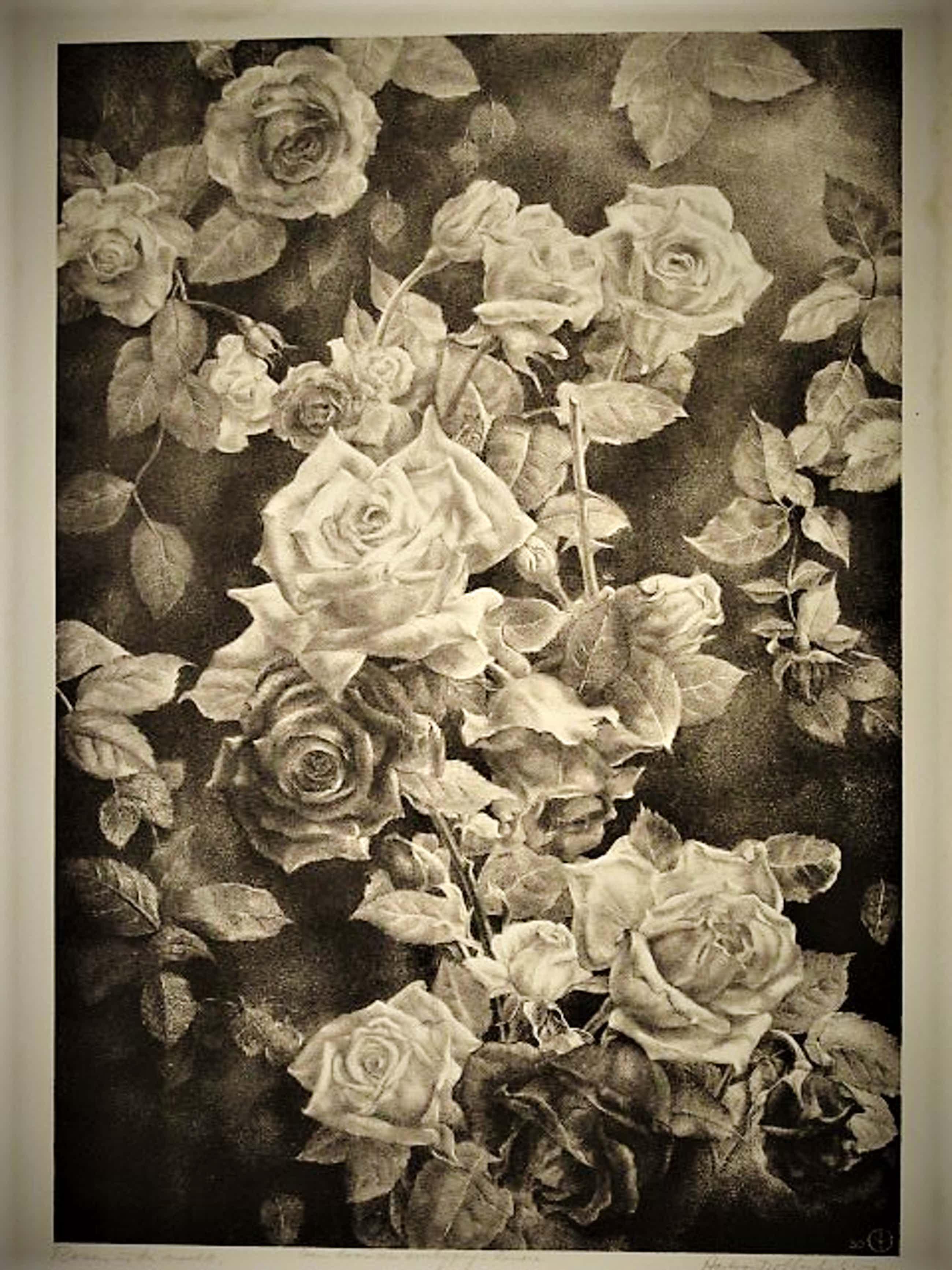 """Aart van Dobbenburgh - Groot 1950 realistisch Litho """"Witte Rozen in de Nacht"""" met opdracht  kopen? Bied vanaf 193!"""